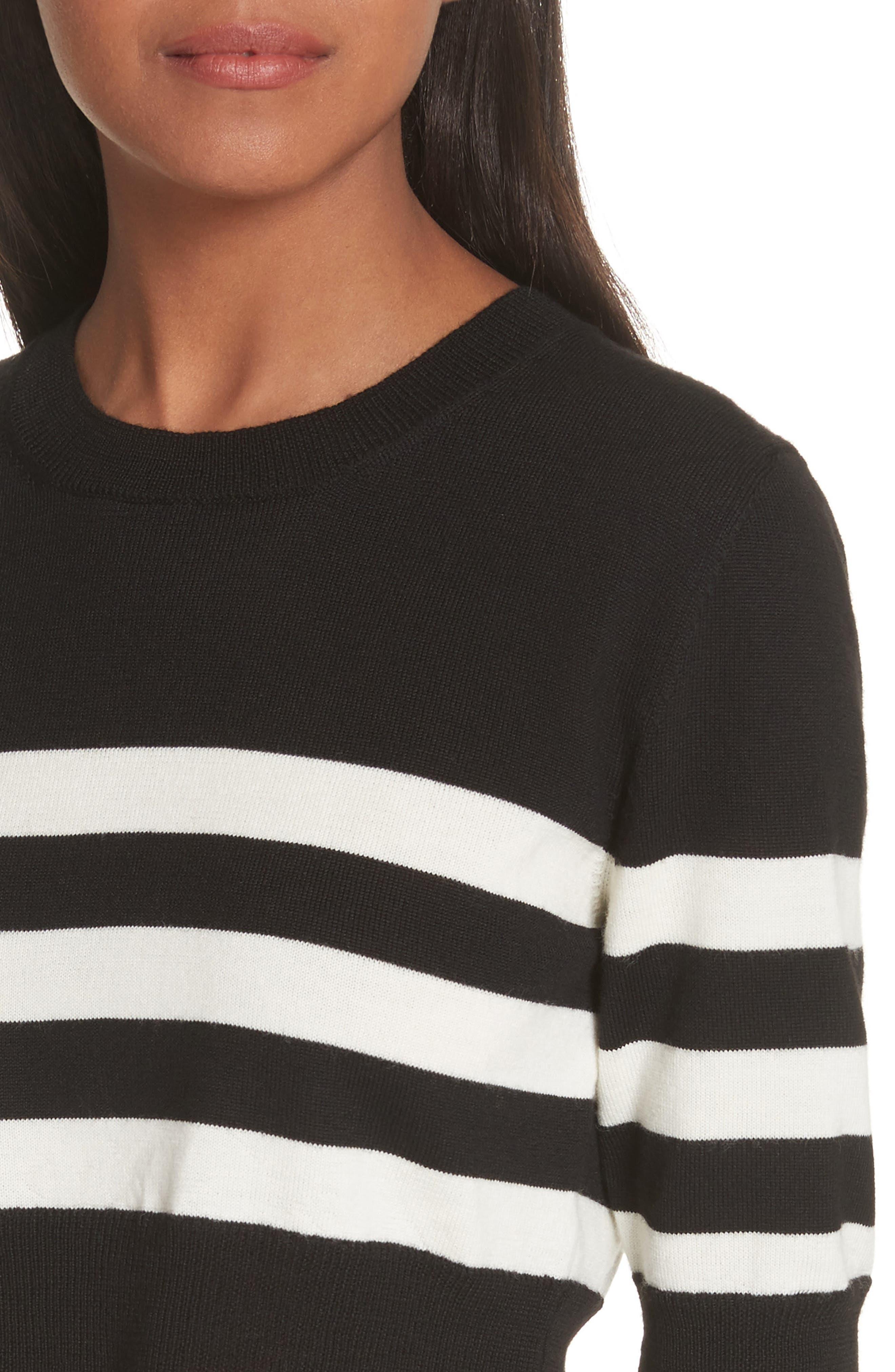 Love Stripe Crop Wool Sweater,                             Alternate thumbnail 4, color,                             Black/ White