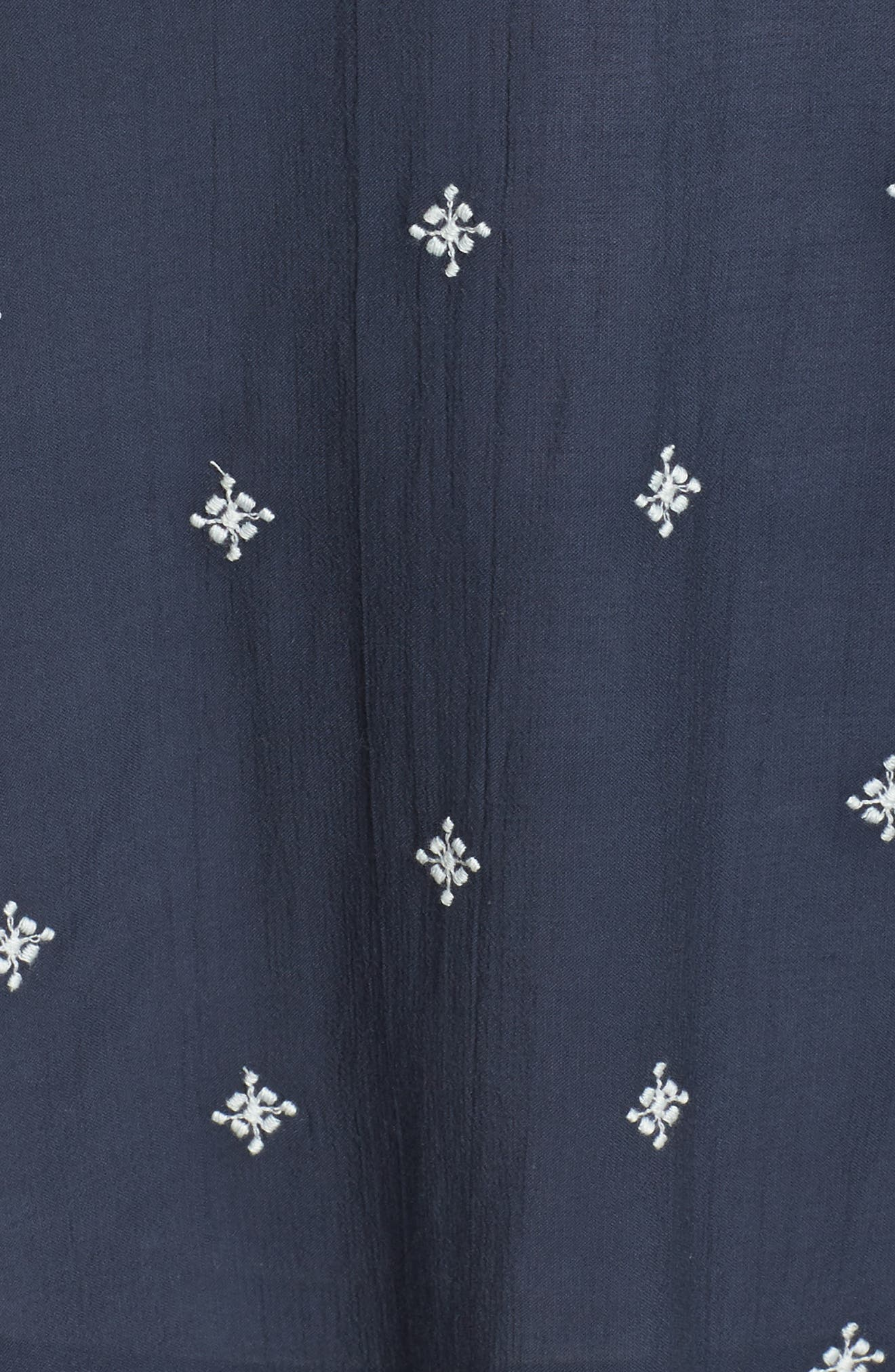 Embroidered Peasant Top,                             Alternate thumbnail 5, color,                             Navy Floral