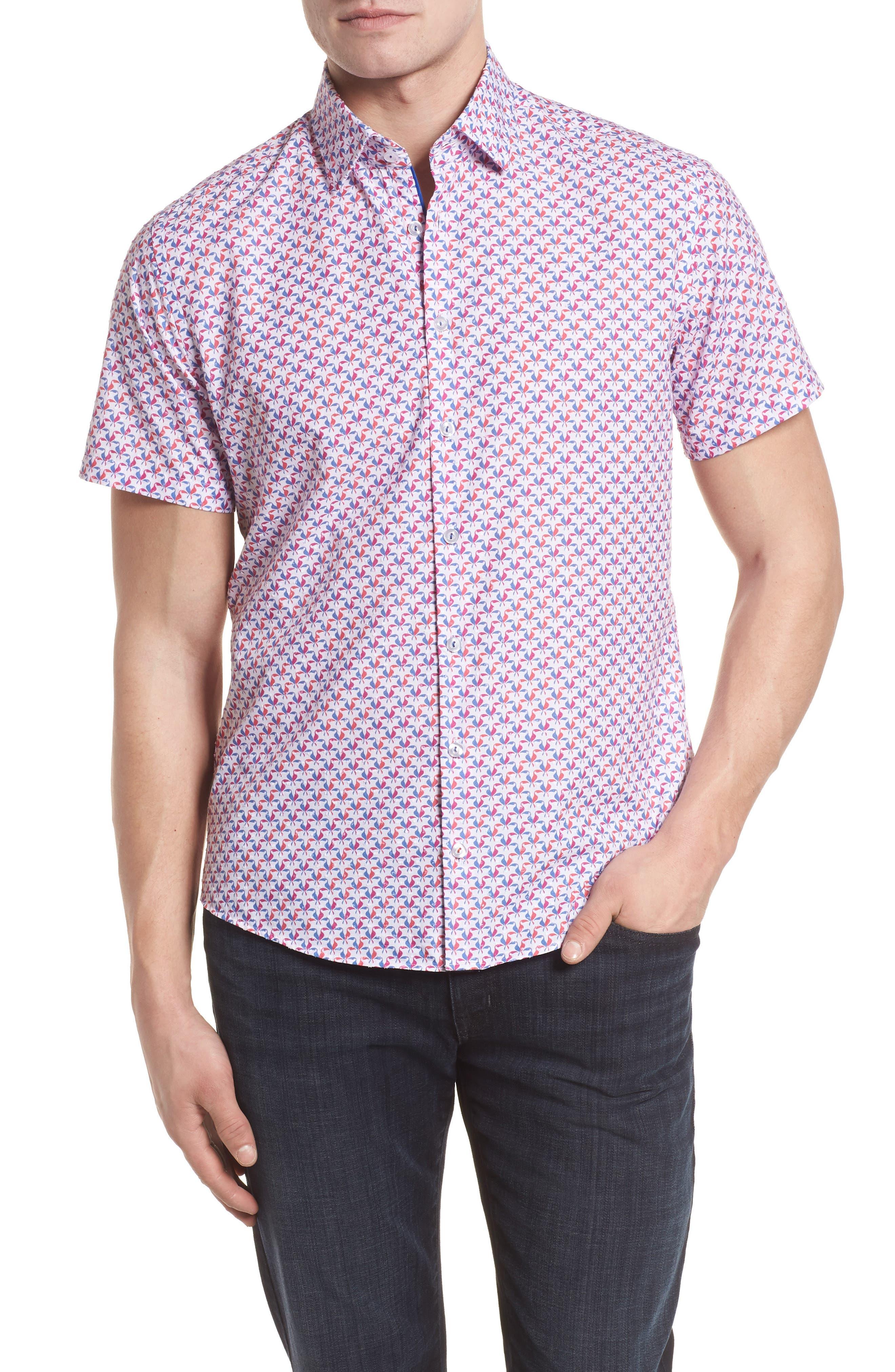 Contemporary Fit Toucan Print Sport Shirt,                         Main,                         color, Berry