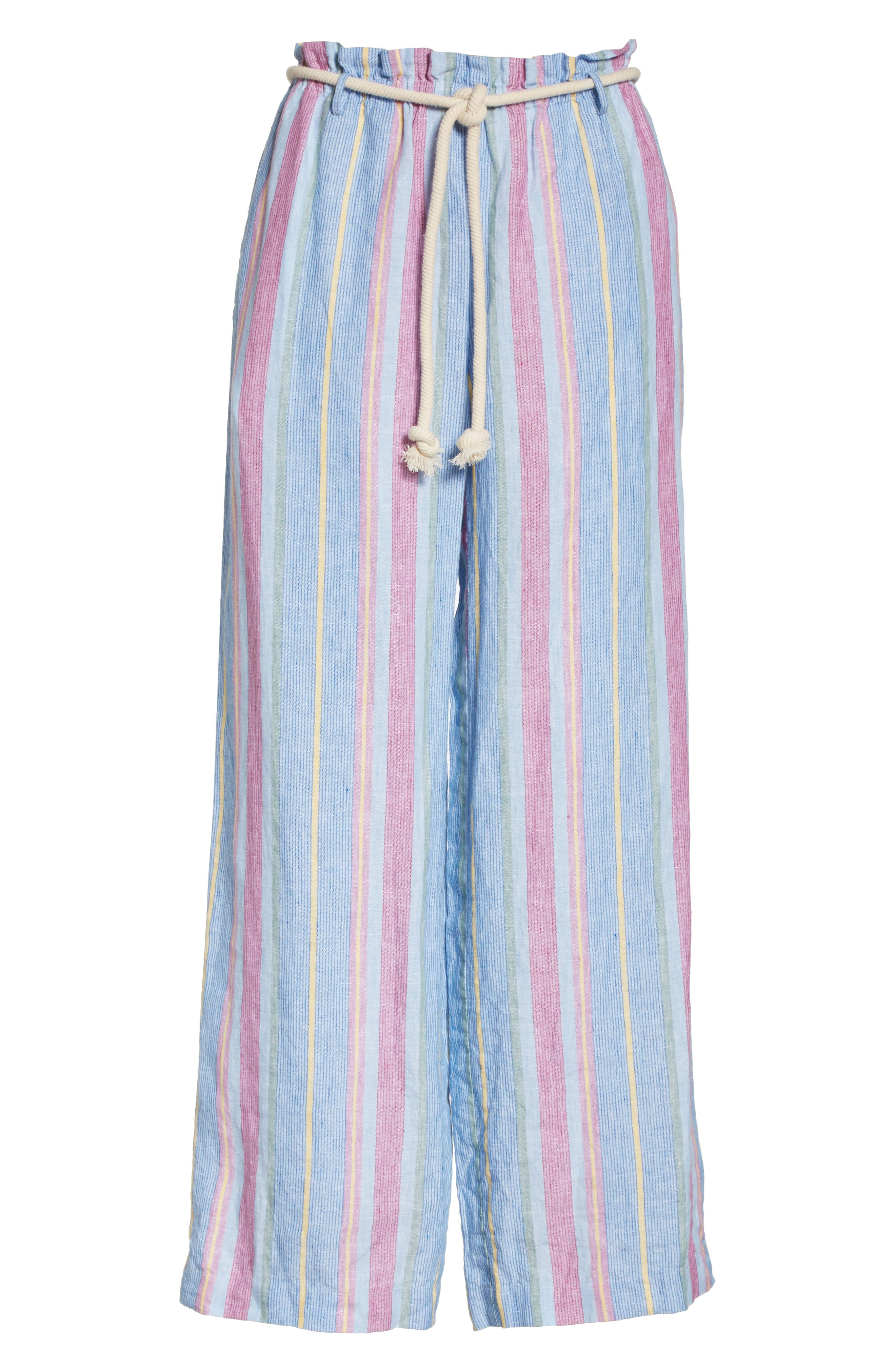 Easy Stripe Linen Pants,                             Alternate thumbnail 8, color,                             Purple Multi