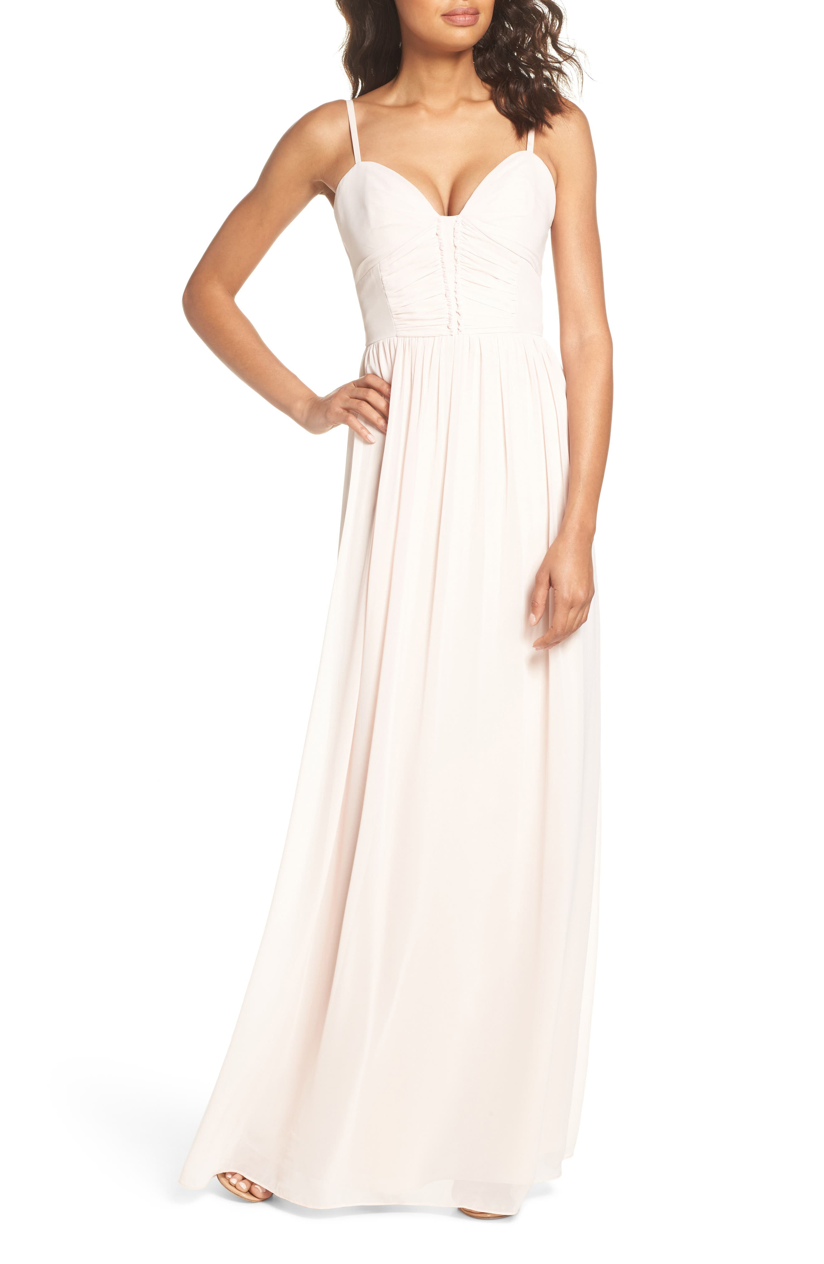 Ruffle Detail A-Line Chiffon Gown,                         Main,                         color, Blush Cashmere