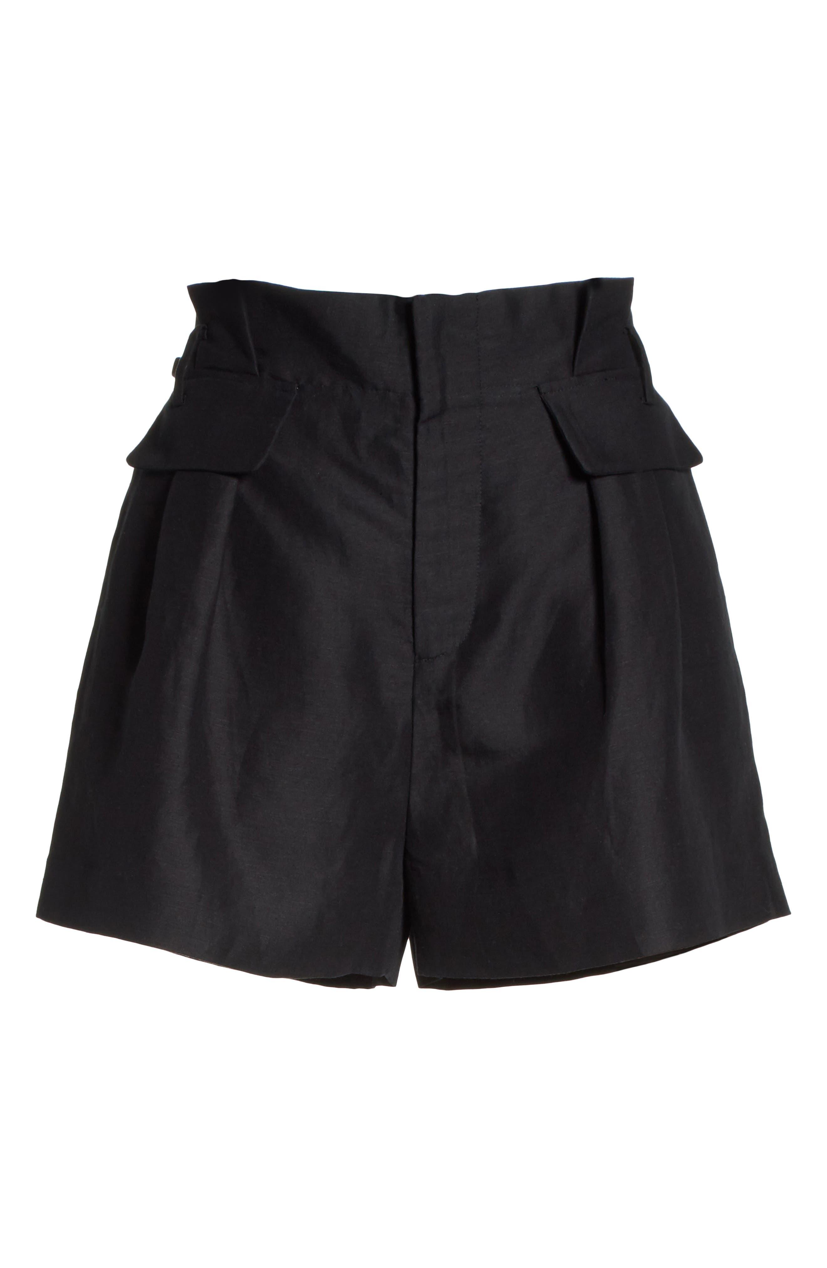 Paperbag Shorts,                             Alternate thumbnail 6, color,                             Noir
