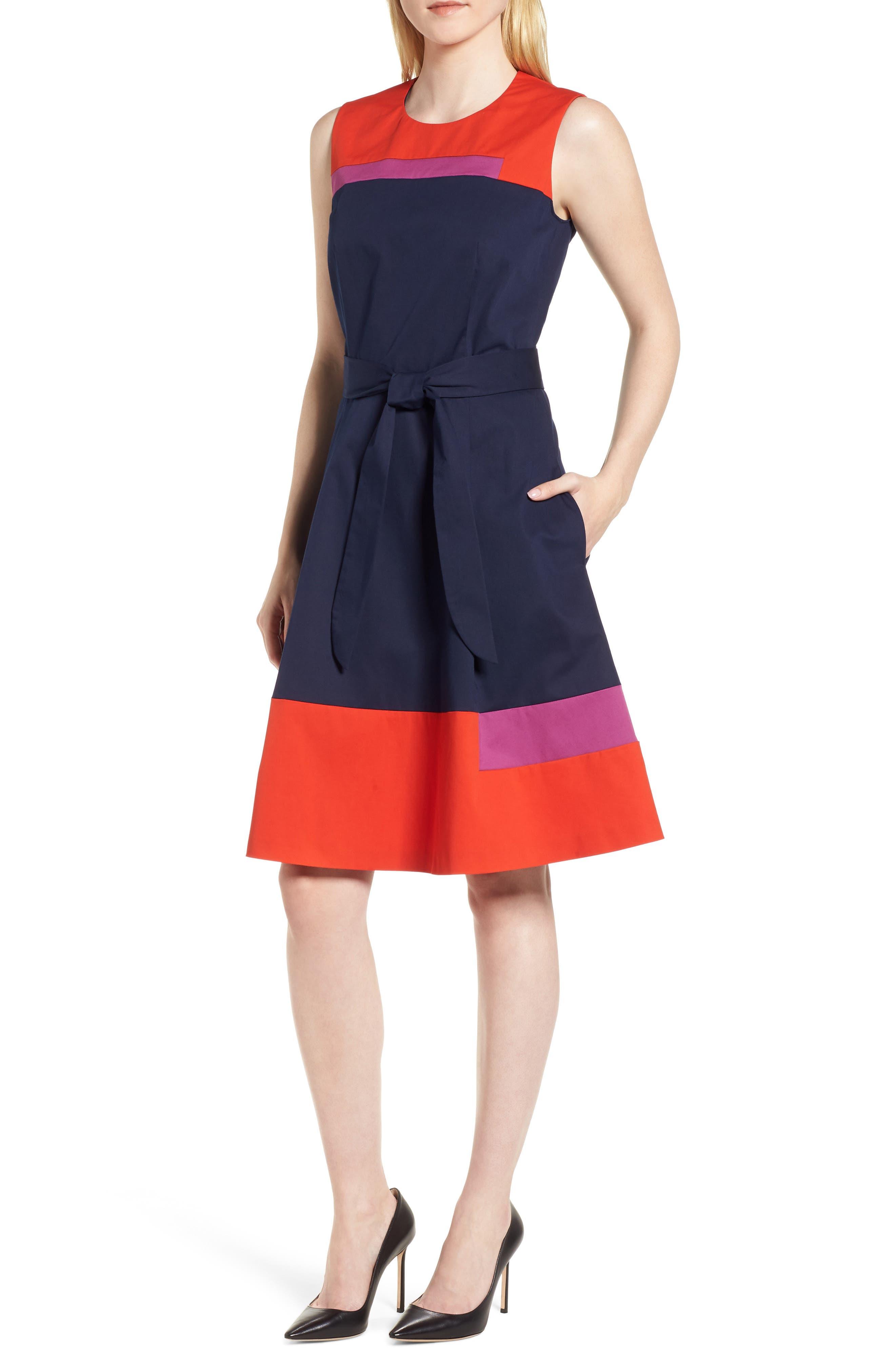 BOSS Colorblock Sleeveless Stretch Cotton Dress (Regular & Petite)