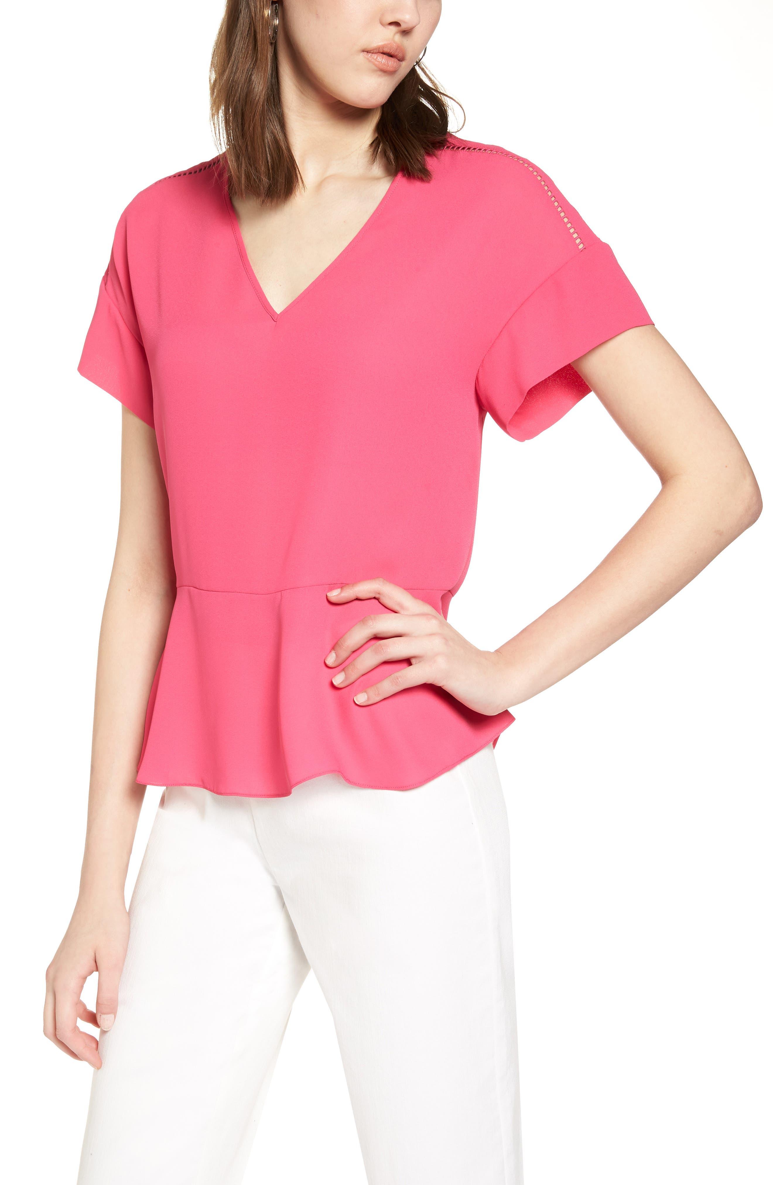 Ruffle Sleeve Peplum Stretch Cotton Blend Top,                             Main thumbnail 1, color,                             Pink Cabaret