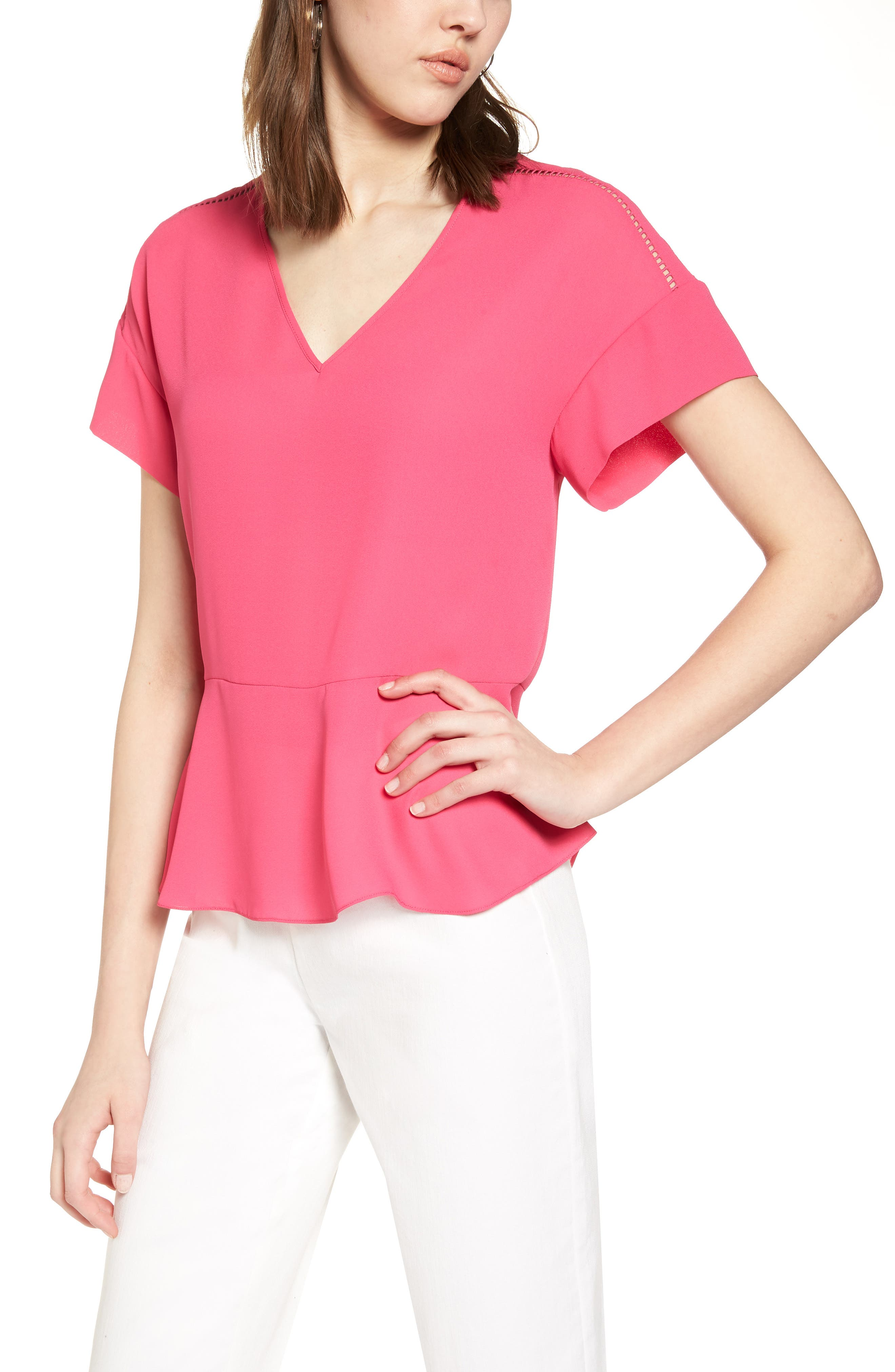 Ruffle Sleeve Peplum Stretch Cotton Blend Top,                         Main,                         color, Pink Cabaret