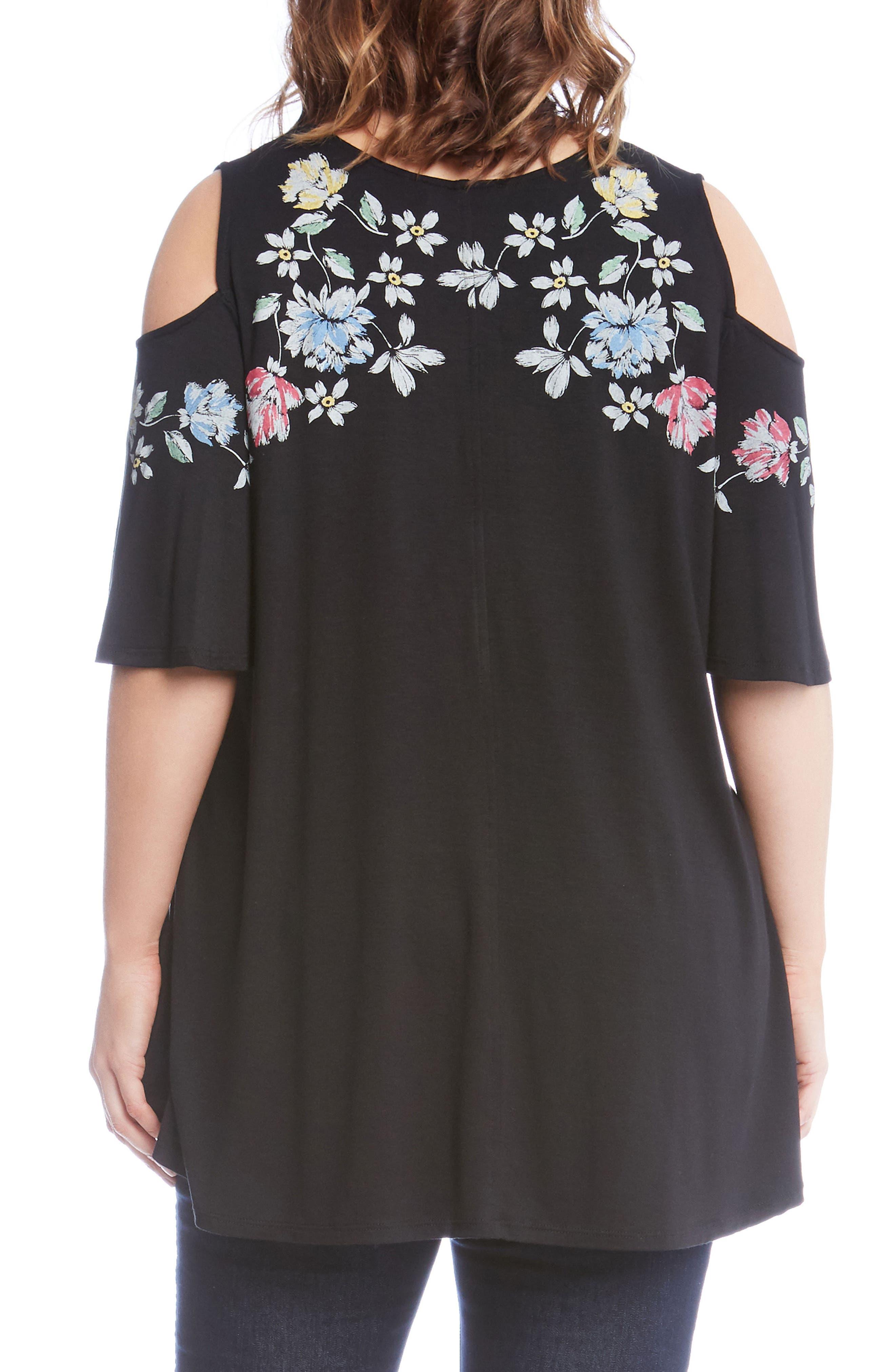Floral Cold Shoulder Top,                             Alternate thumbnail 2, color,                             Black
