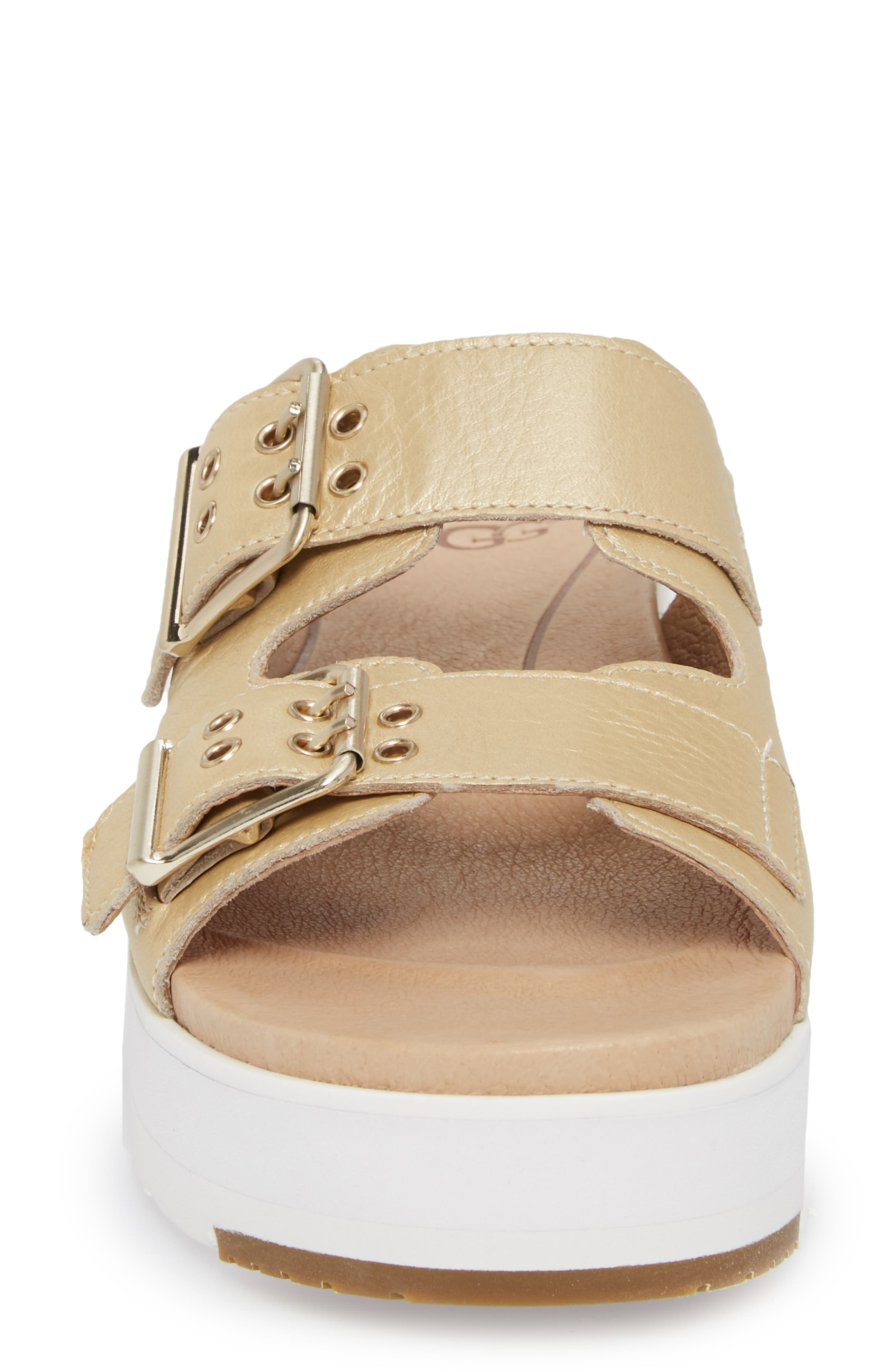 Cammie Platform Sandal,                             Alternate thumbnail 4, color,                             Gold Patent Leather