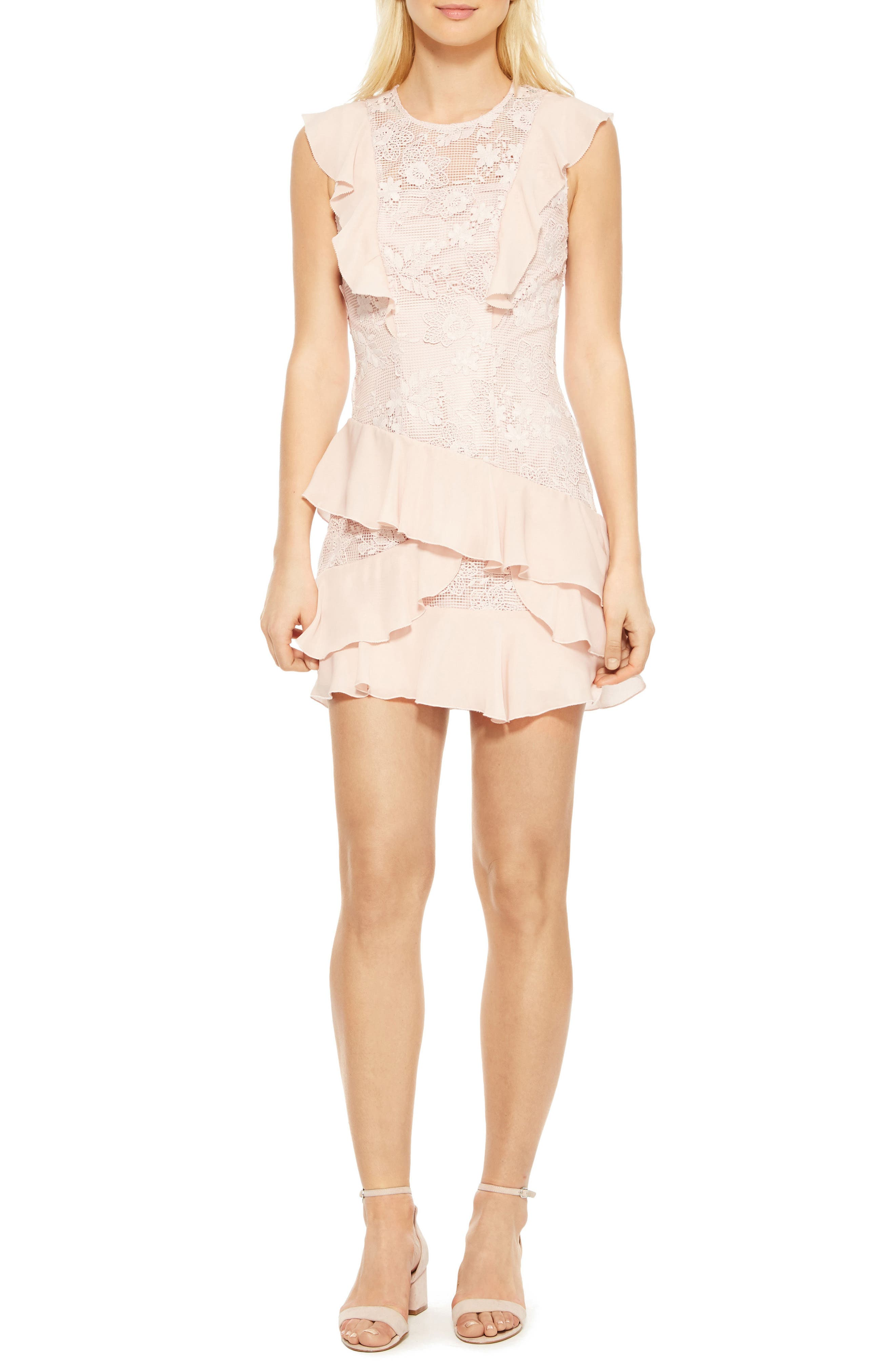 Gabriel Lace Ruffle Dress,                             Main thumbnail 1, color,                             Pearl Blush