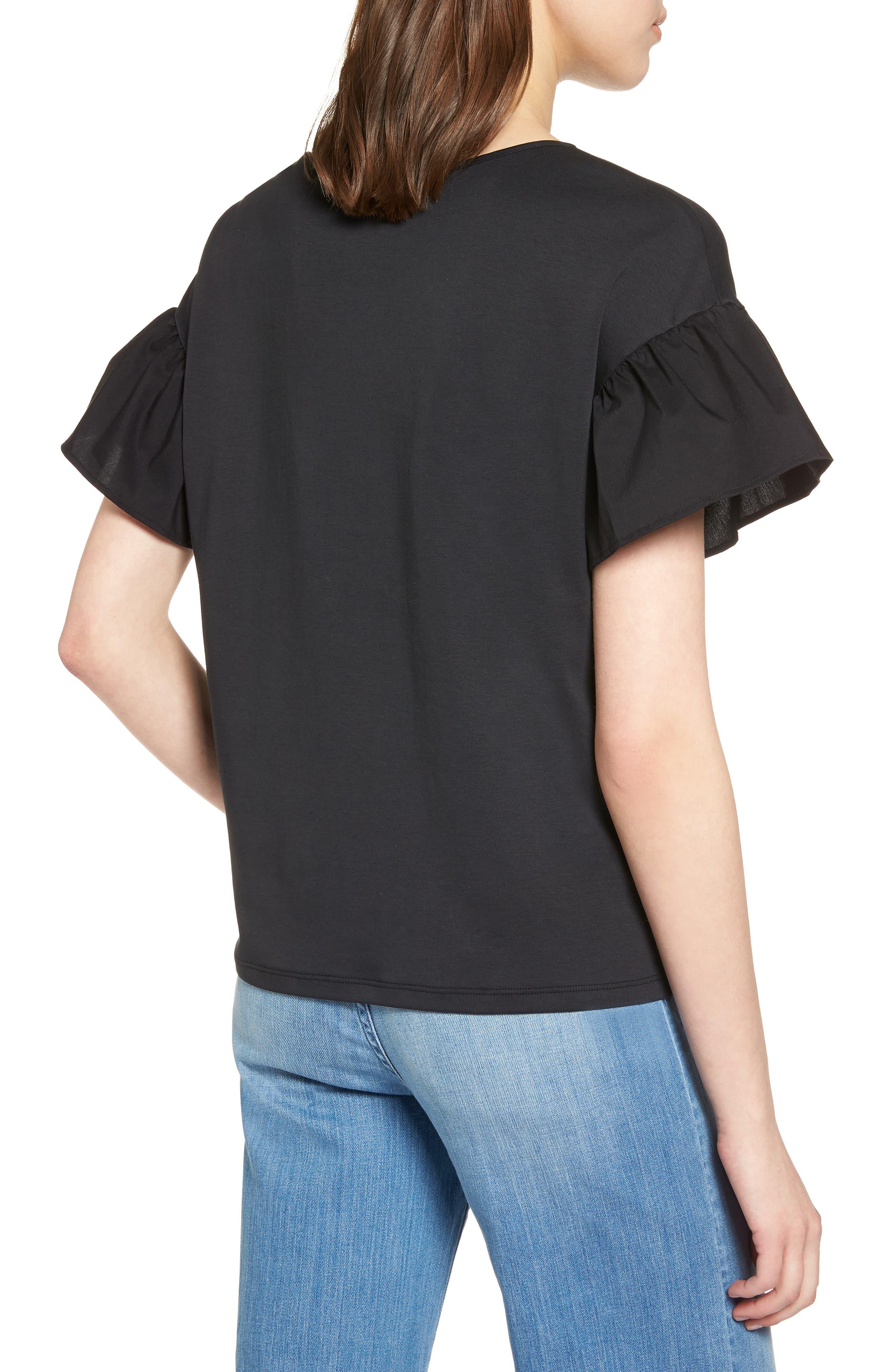 Flutter Sleeve Cotton Knit Top,                             Alternate thumbnail 2, color,                             Black
