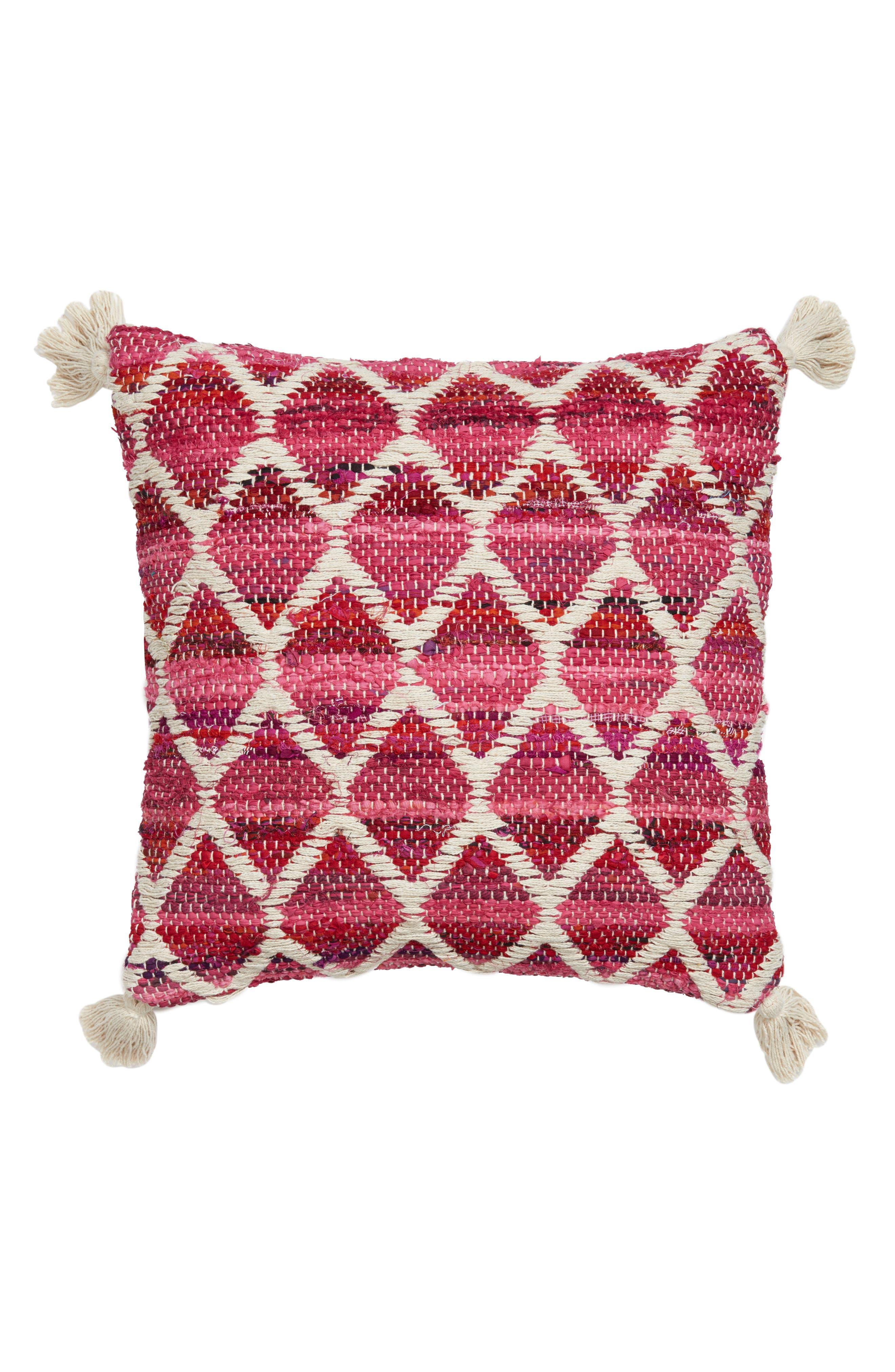 Diamond Chindi Accent Pillow,                             Main thumbnail 1, color,                             Hot Pink