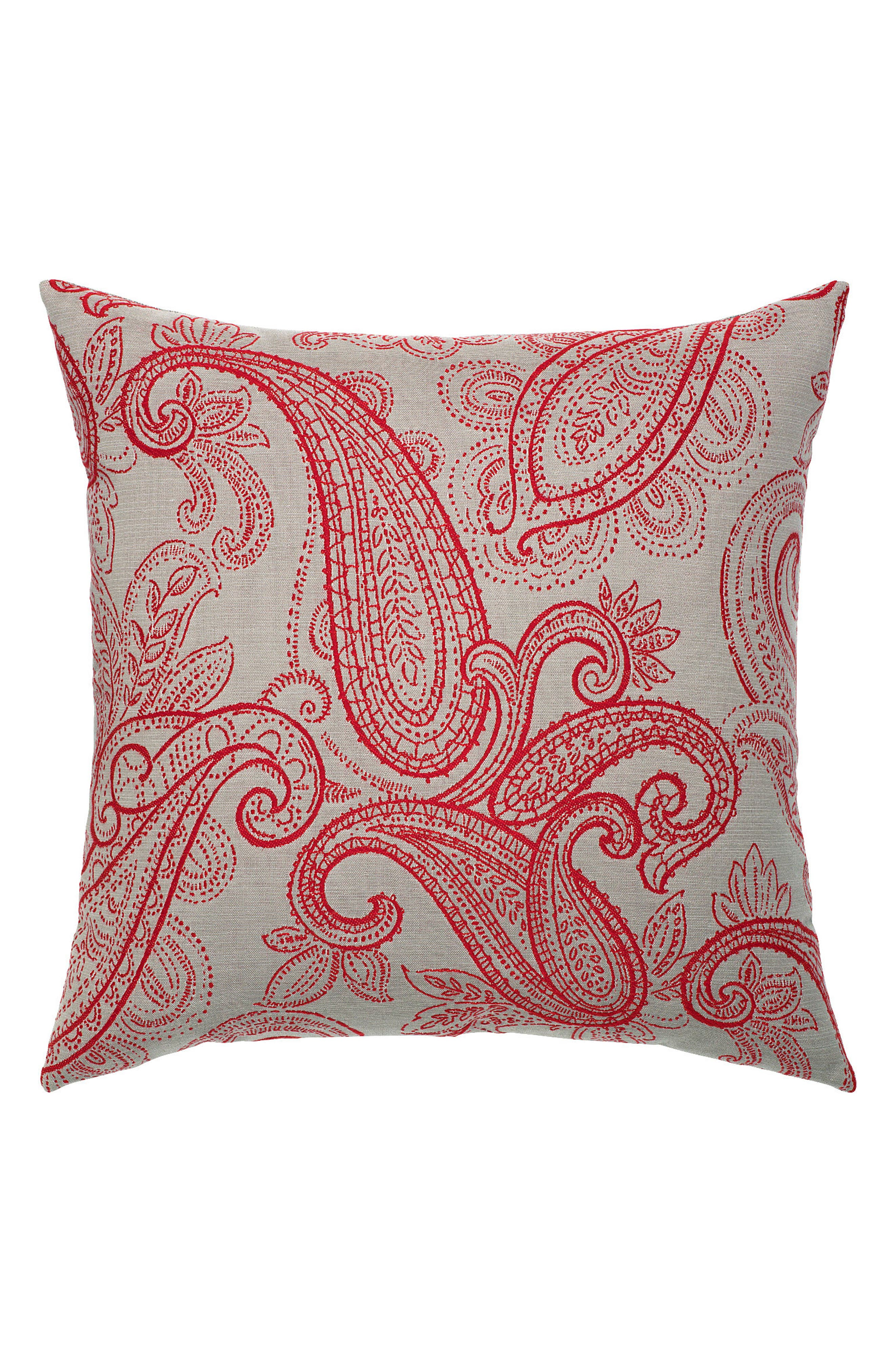 Polished Paisley Indoor/Outdoor Accent Pillow,                             Main thumbnail 1, color,                             Red/ Grey
