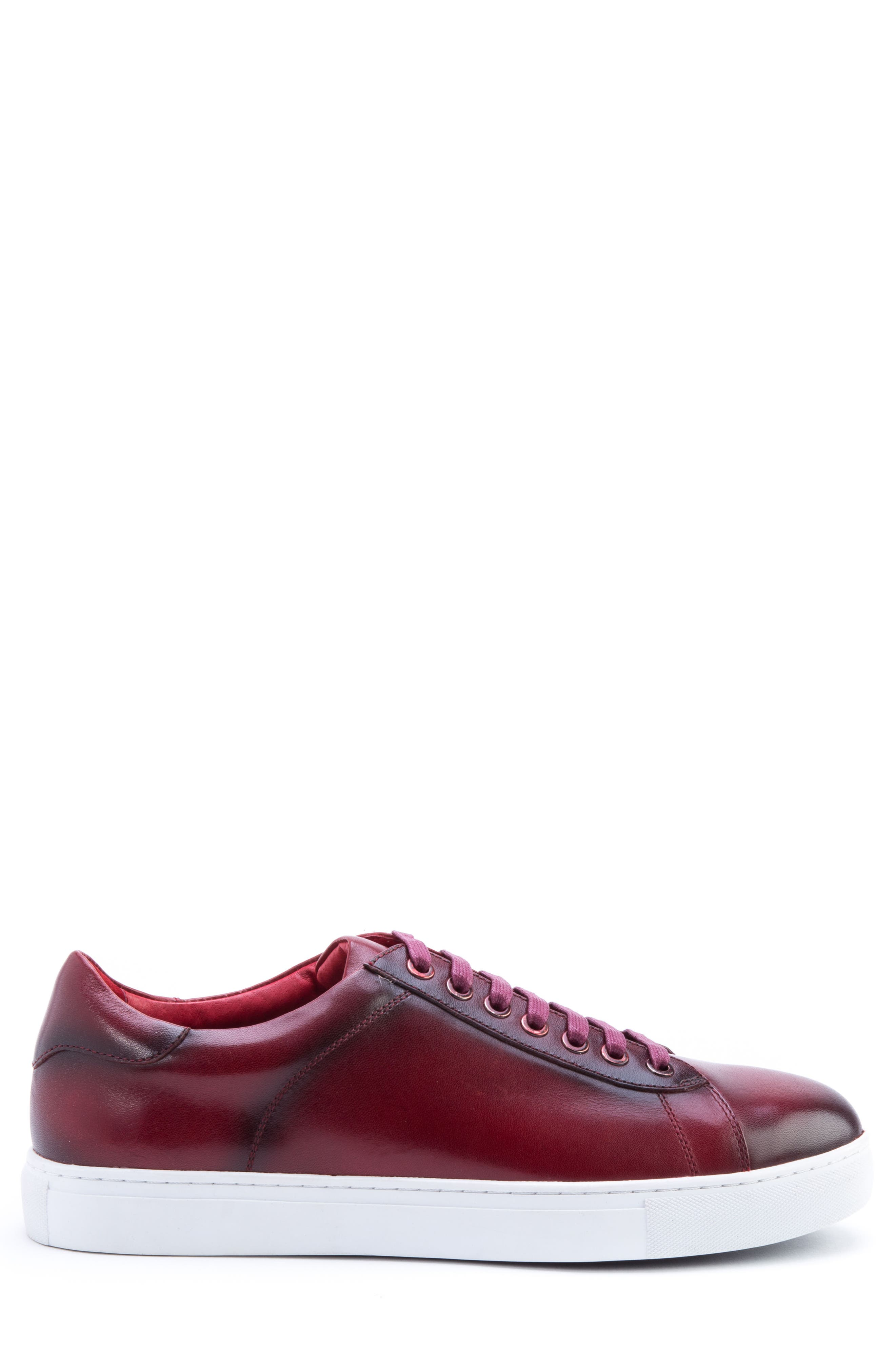Music Low Top Sneaker,                             Alternate thumbnail 3, color,                             Red Leather