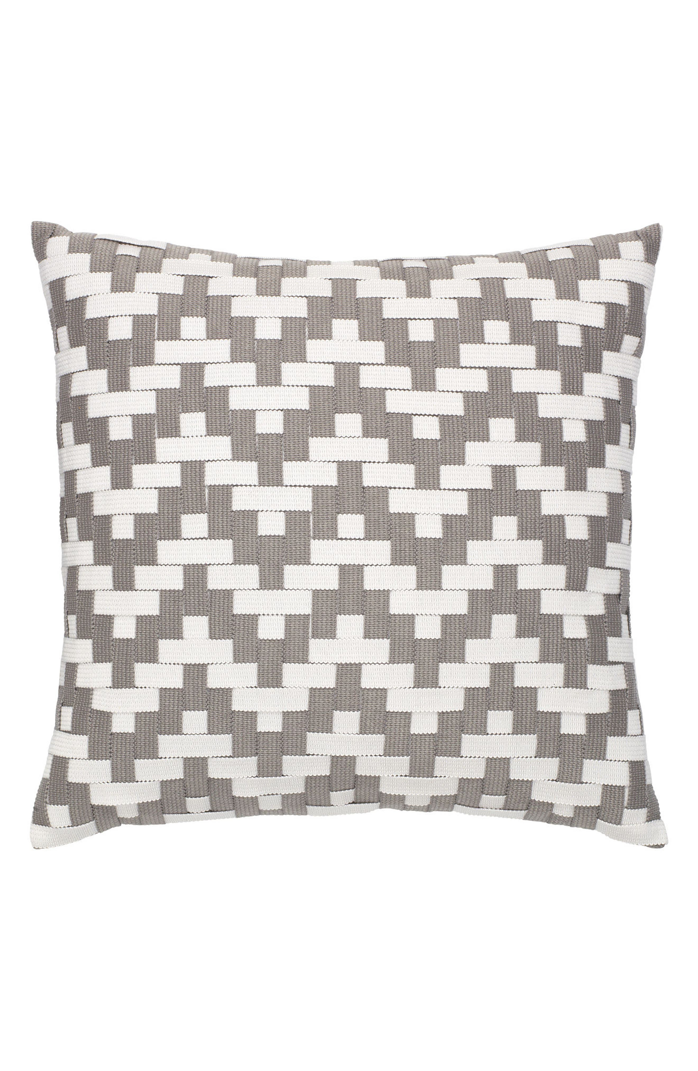 Alabaster Basket Weave Indoor/Outdoor Accent Pillow,                             Main thumbnail 1, color,                             Grey/ White