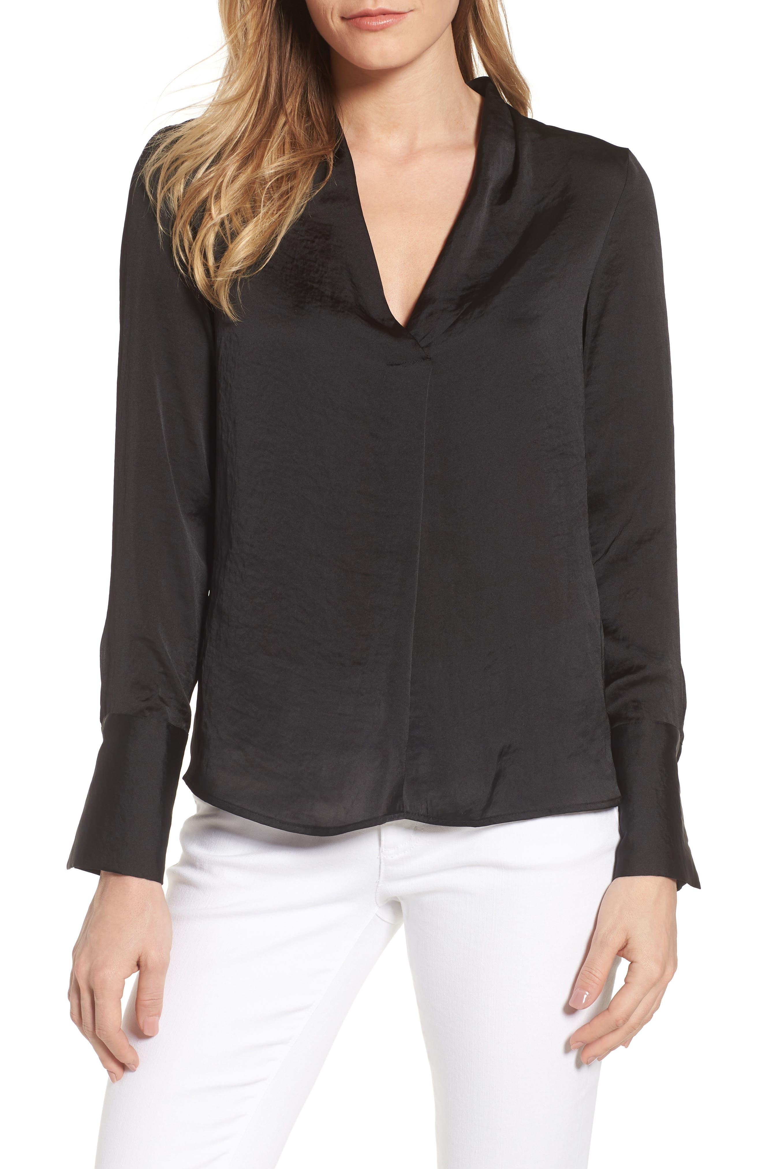 Crinkle Long Sleeve Blouse,                             Main thumbnail 1, color,                             Black