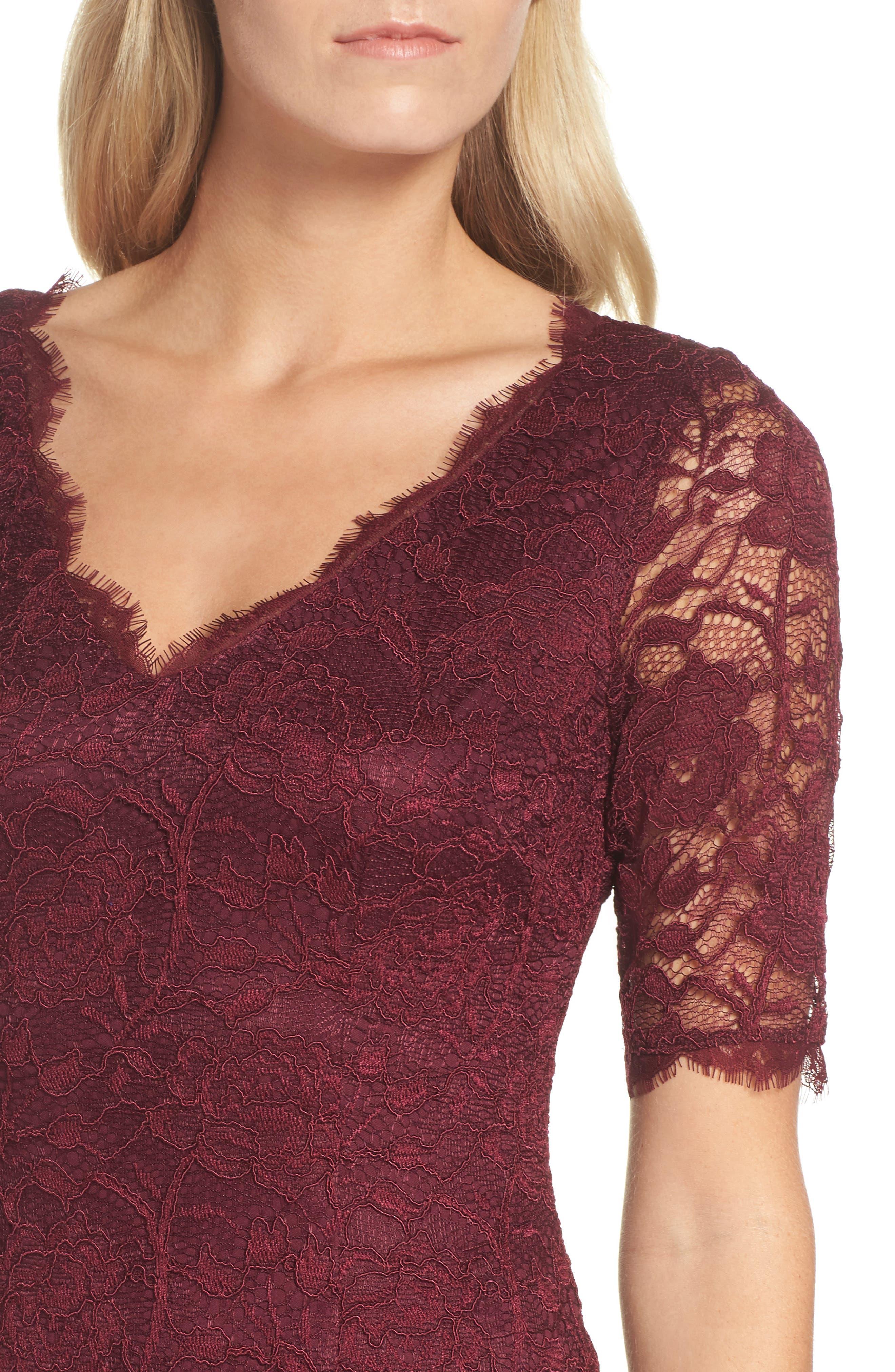 Rose Lace Sheath Dress,                             Alternate thumbnail 4, color,                             Cabernet
