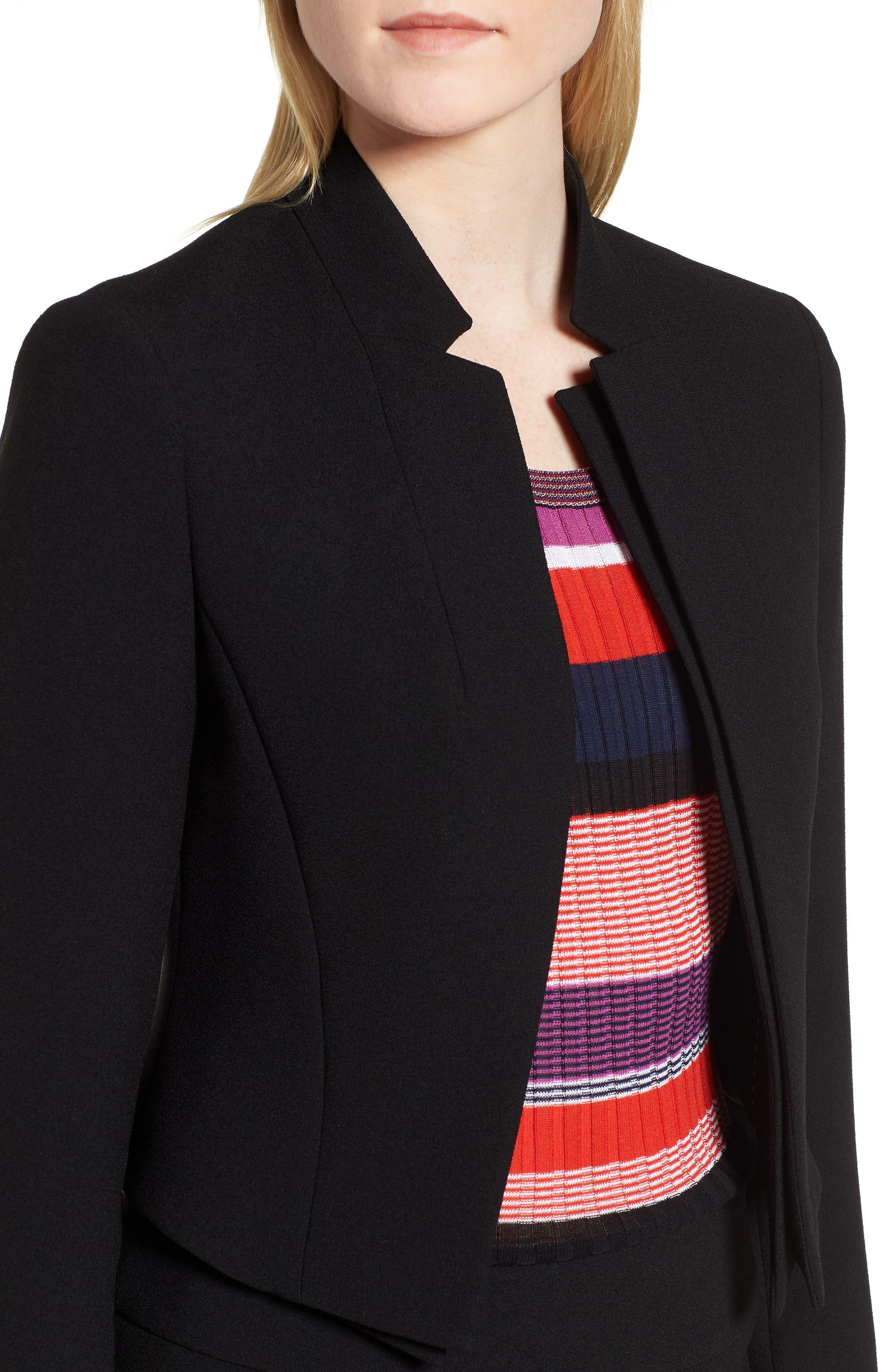 Jisala Compact Crepe Crop Jacket,                             Alternate thumbnail 3, color,                             Black