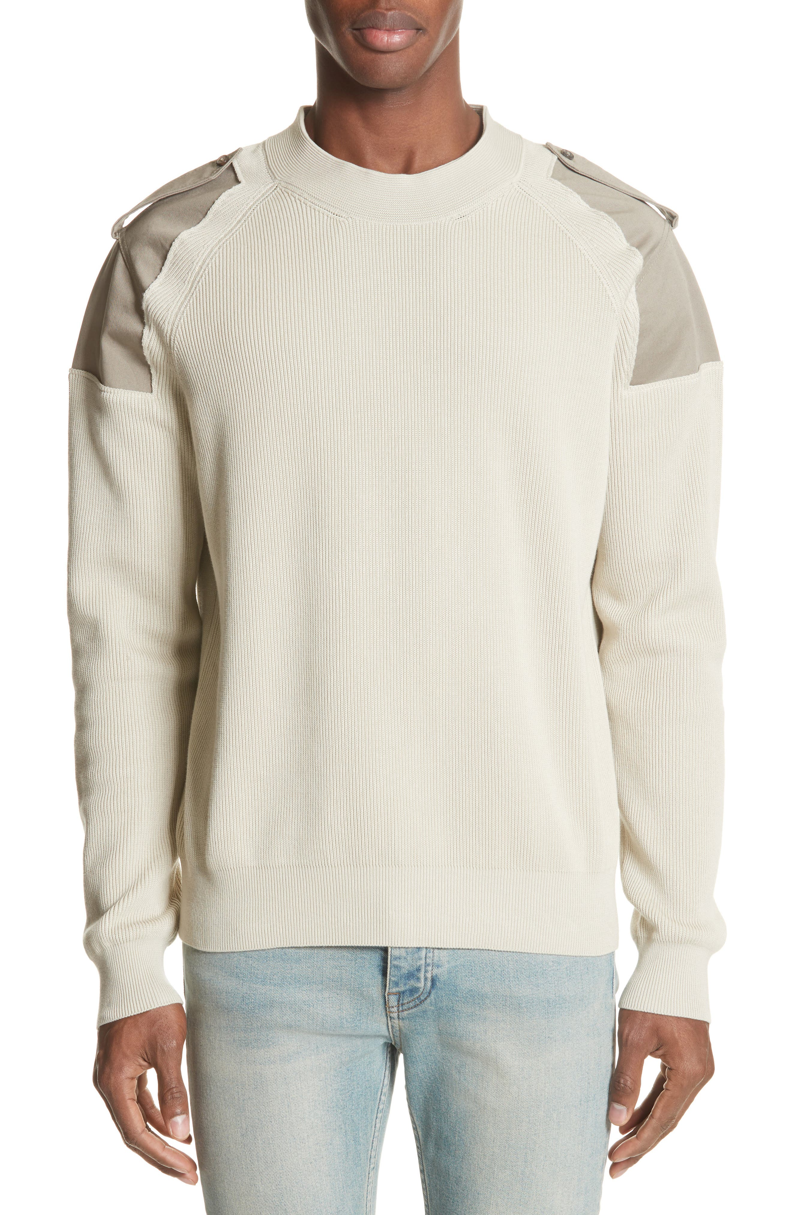 Two-Tone Military Sweater,                         Main,                         color, Light Brown