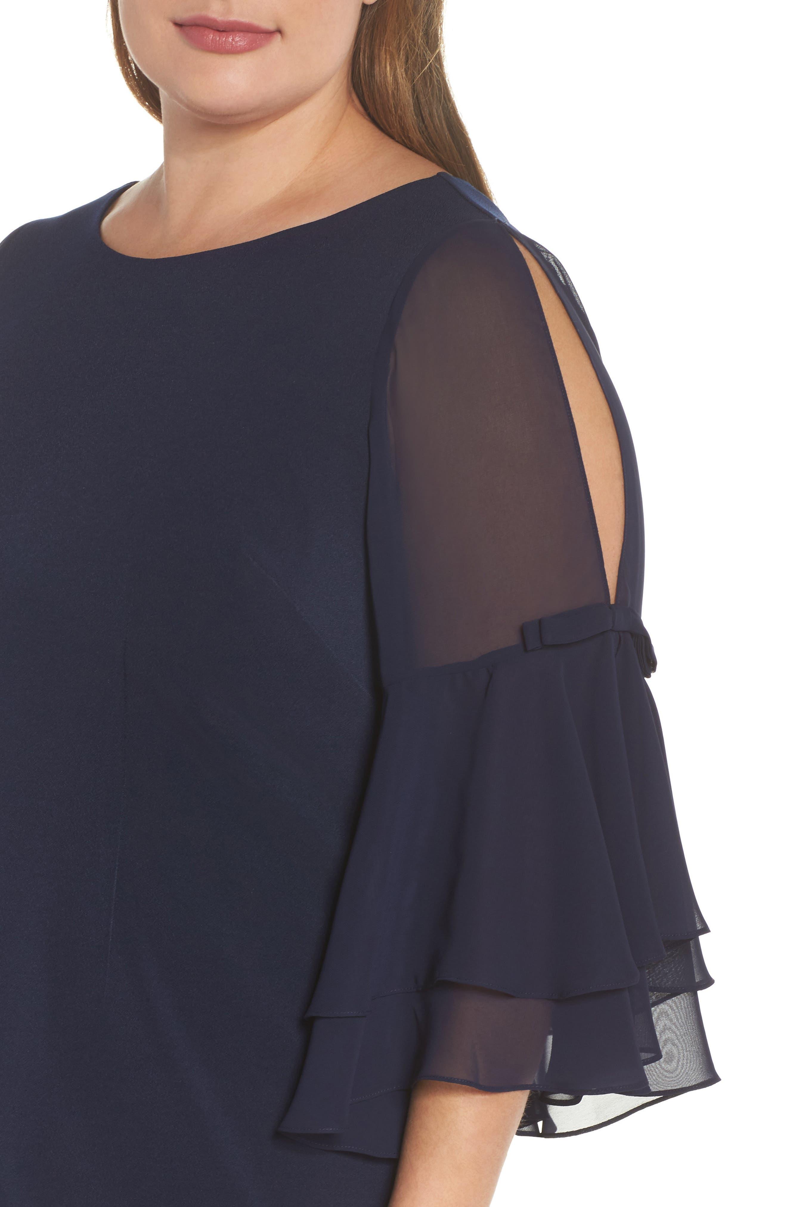 Bow Sleeve Chiffon Shift Dress,                             Alternate thumbnail 4, color,                             Navy