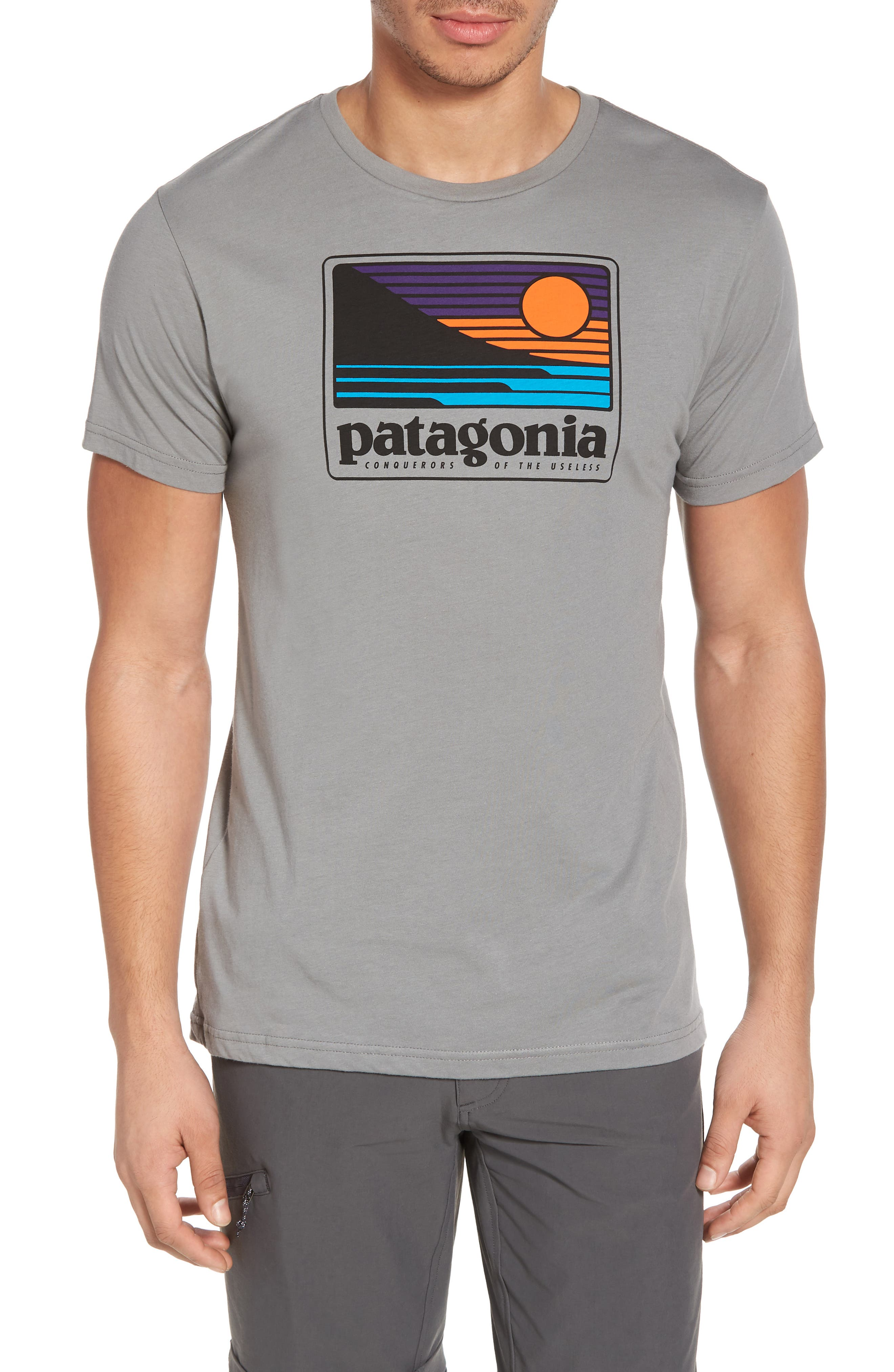 Up & Out Graphic Organic Cotton T-Shirt,                             Main thumbnail 1, color,                             Feather Grey