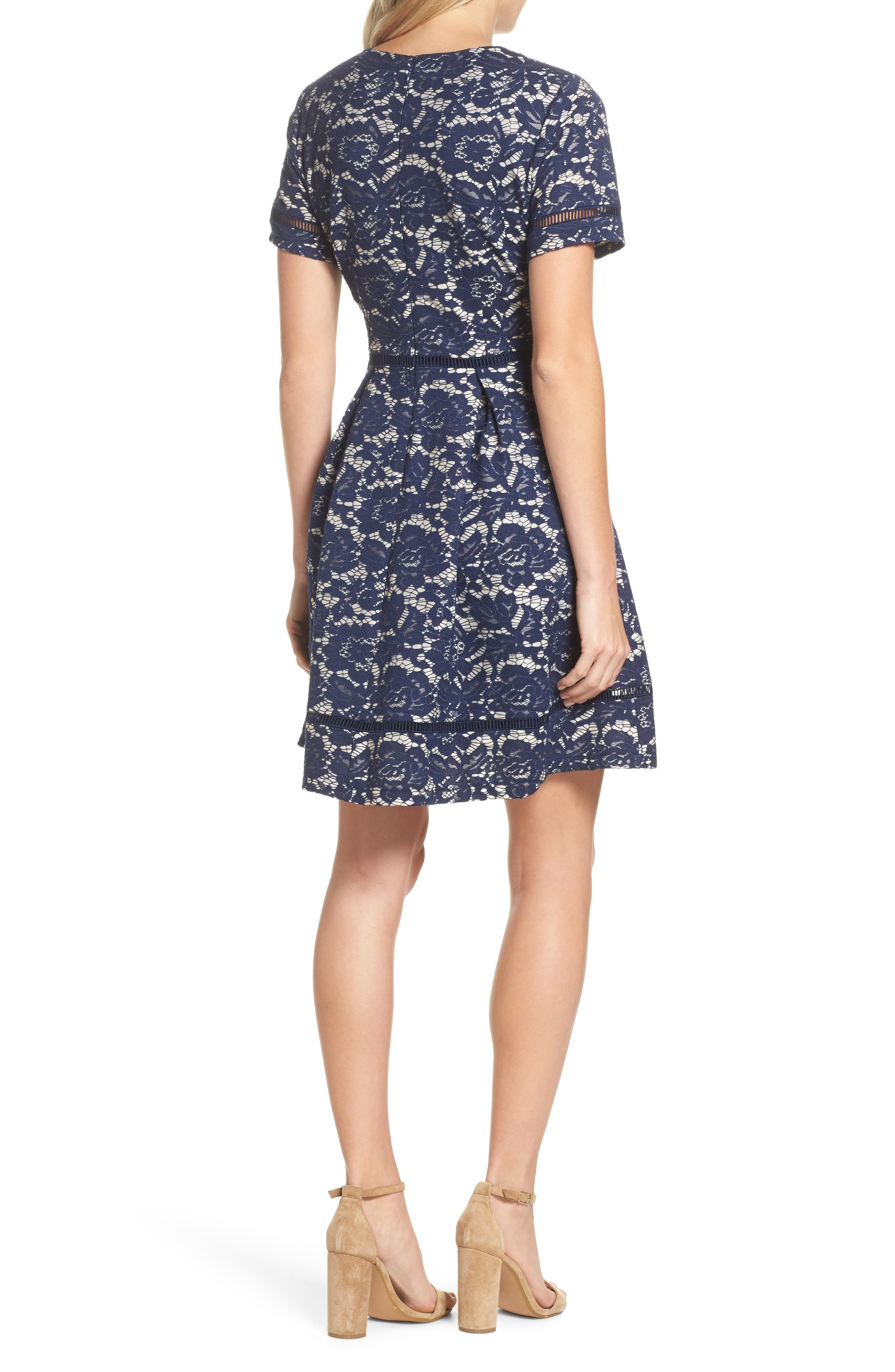Bonded Lace Fit & Flare Dress,                             Alternate thumbnail 2, color,                             Navy