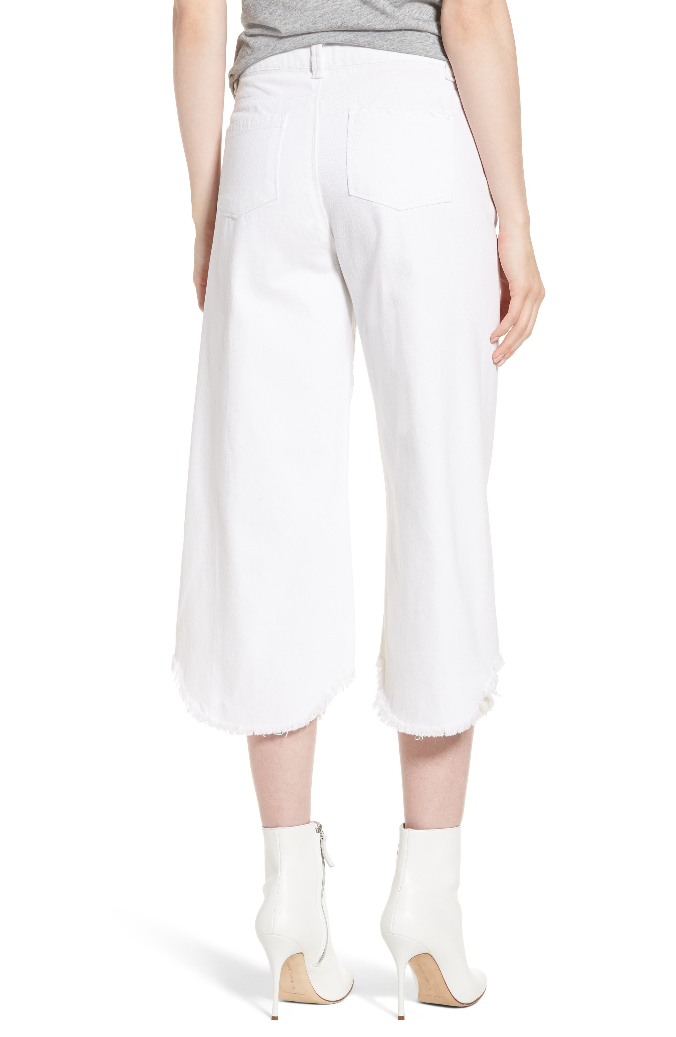 Wide Leg Crop Jeans,                             Alternate thumbnail 2, color,                             White