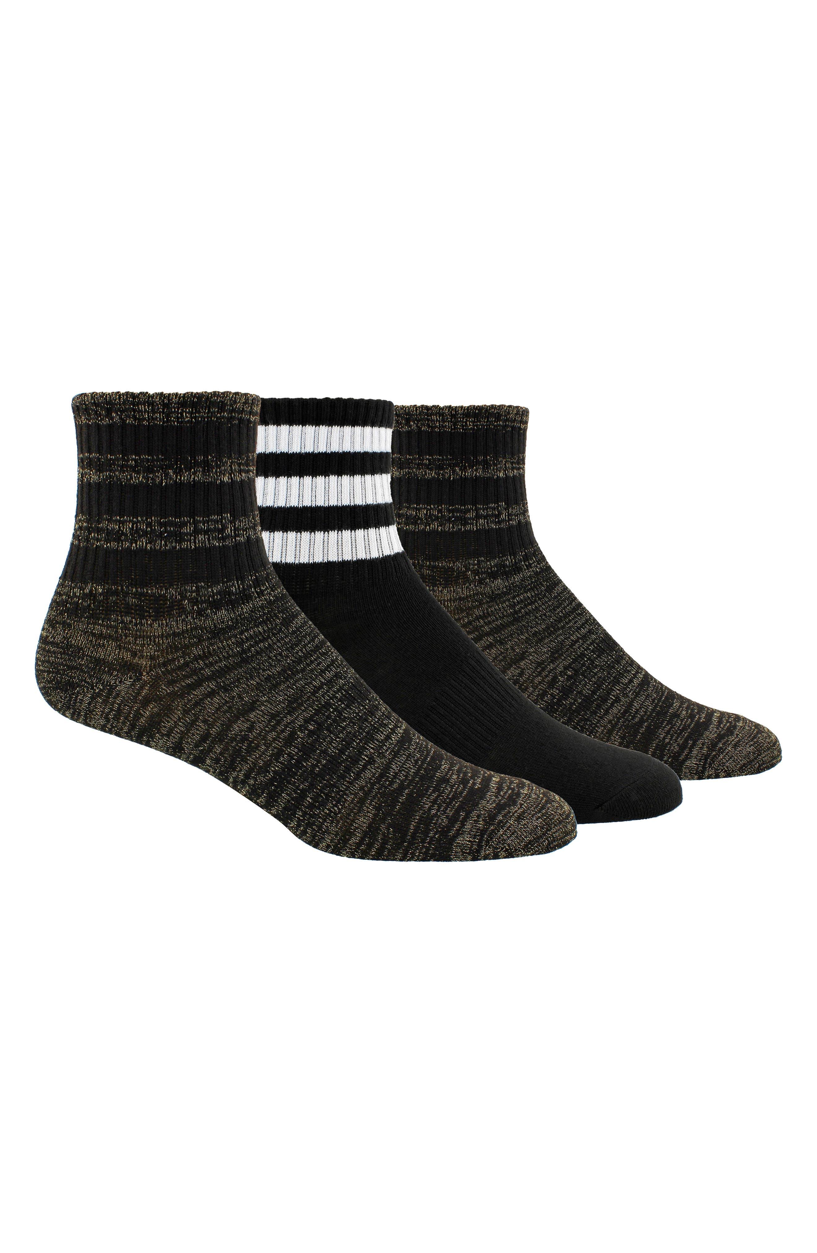 3-Stripes 3-Pack Ankle Socks,                         Main,                         color, Black