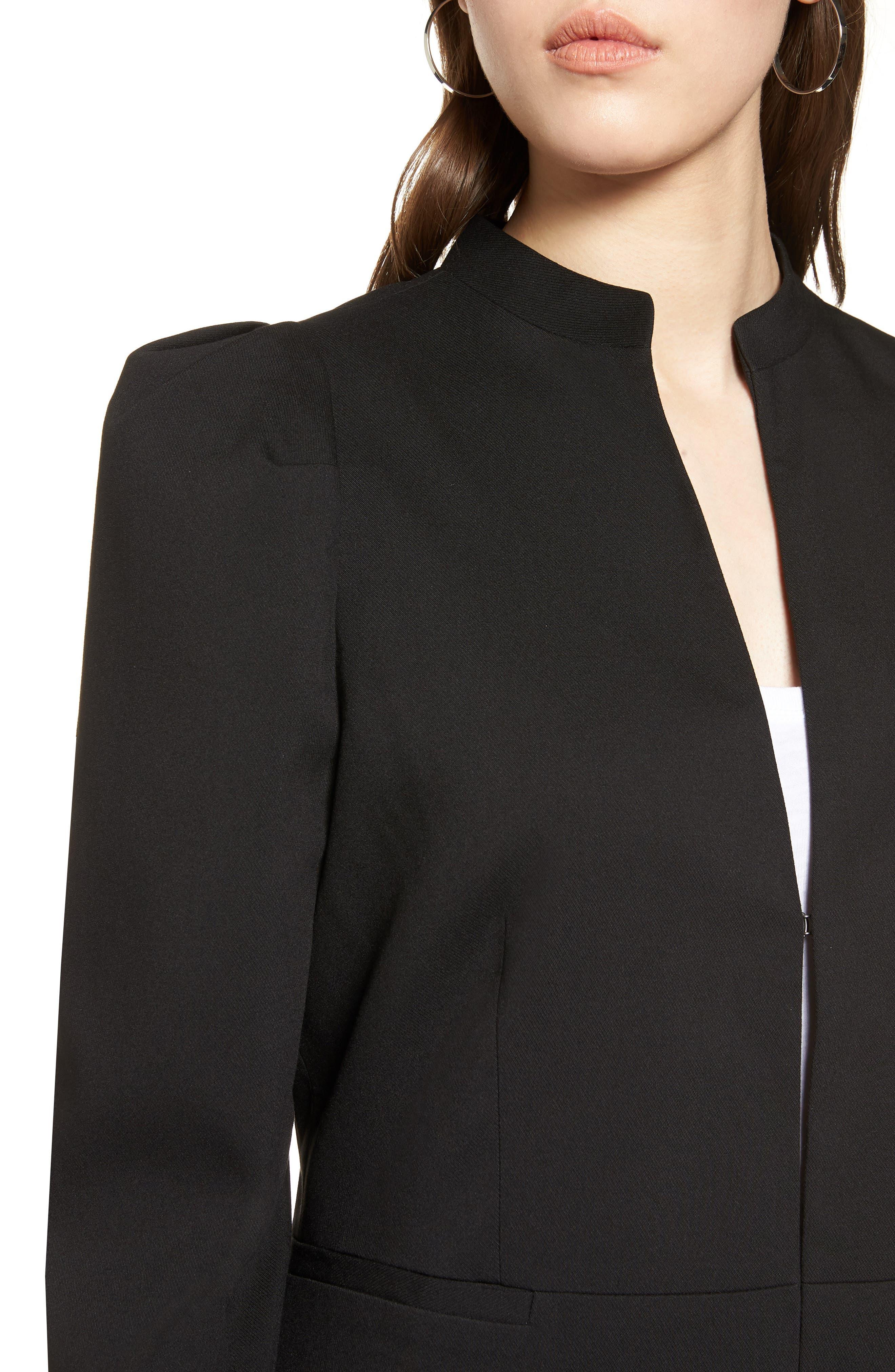 Puff Shoulder Jacket,                             Alternate thumbnail 4, color,                             Black