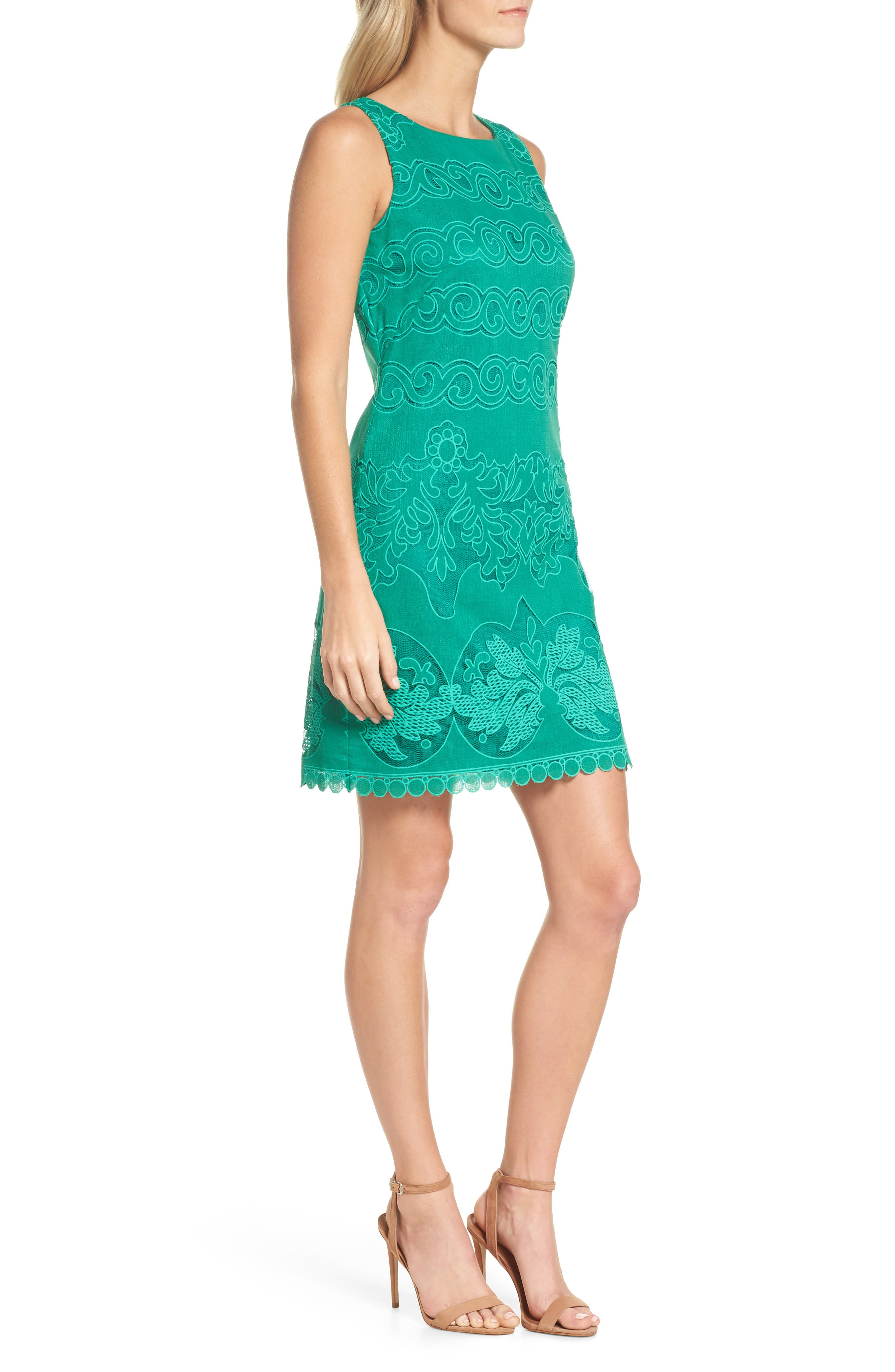 A-Line Dress,                             Alternate thumbnail 3, color,                             Green