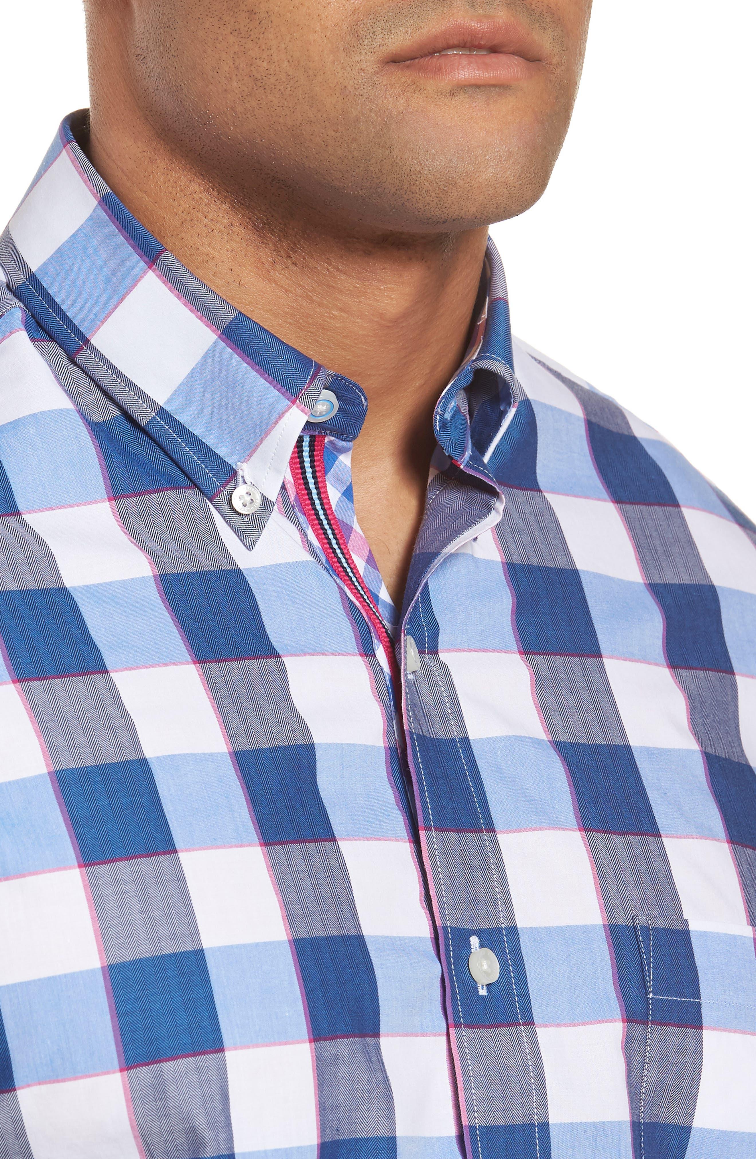 Jeff Regular Fit Check Sport Shirt,                             Alternate thumbnail 4, color,                             Navy
