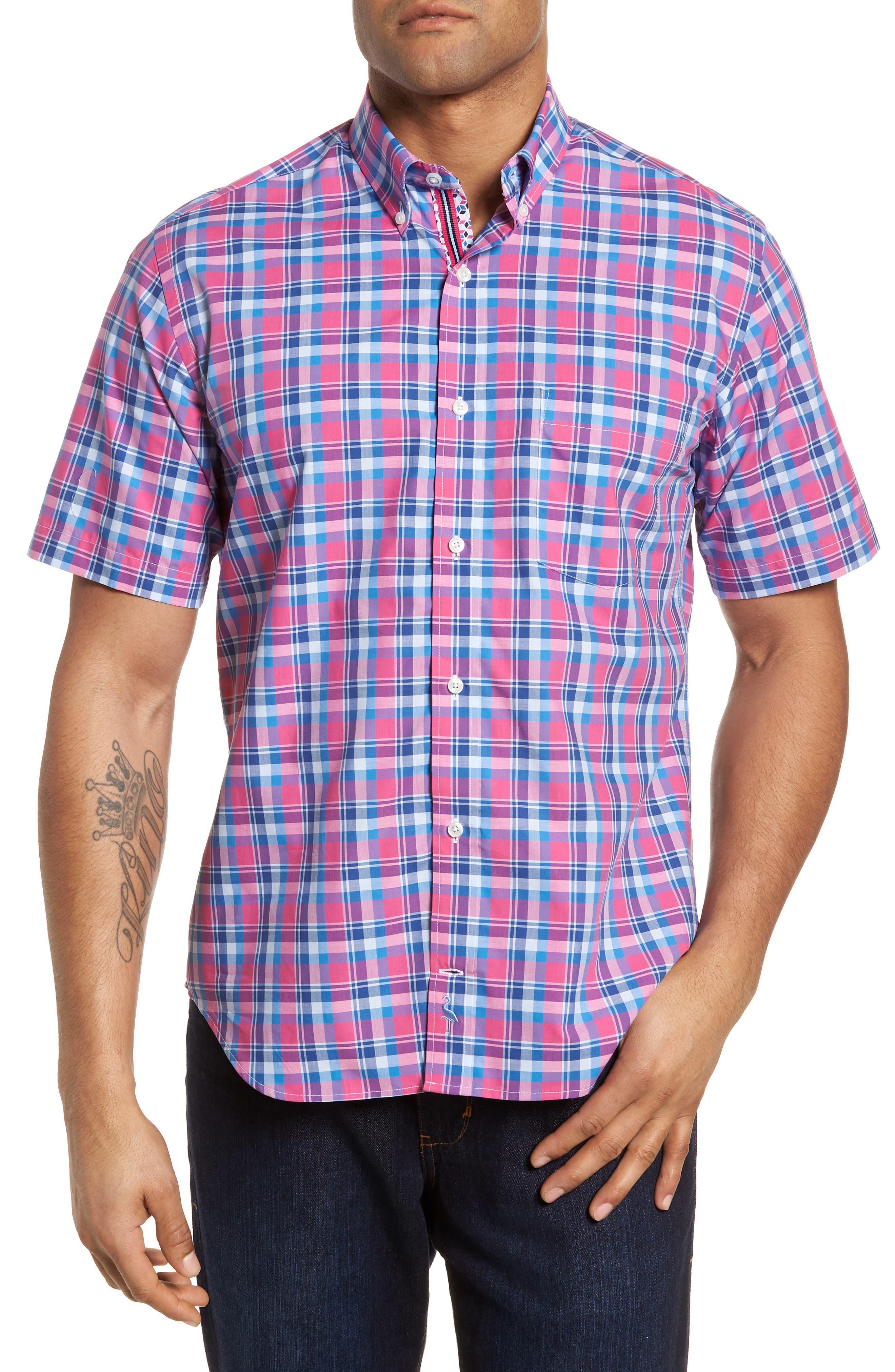 Sloane Regular Fit Plaid Sport Shirt,                         Main,                         color, Pink