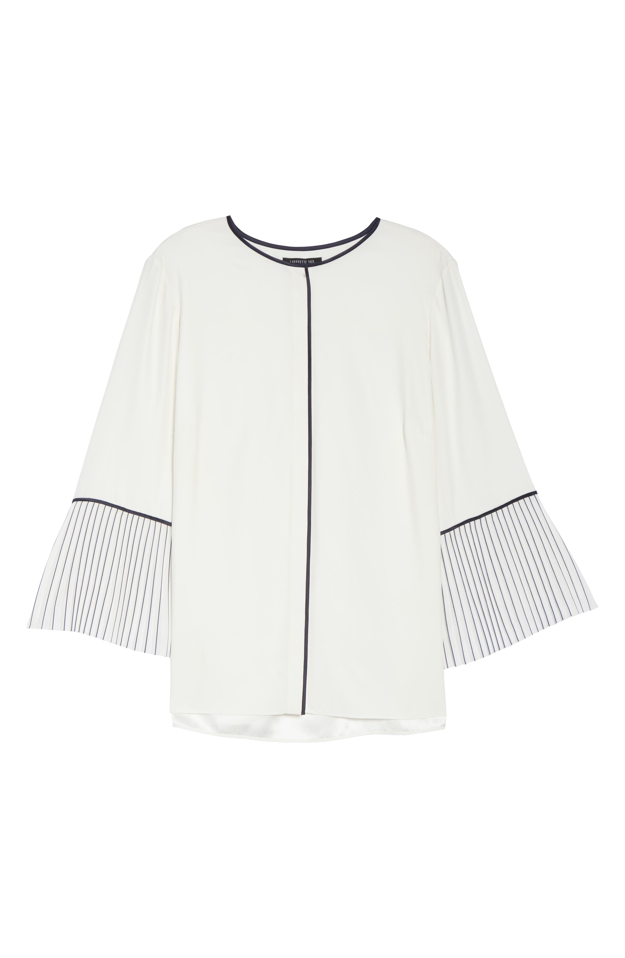 Lafayette 148 Nemy Pleated Bell Sleeve Silk Blouse,                             Alternate thumbnail 6, color,                             Cloud