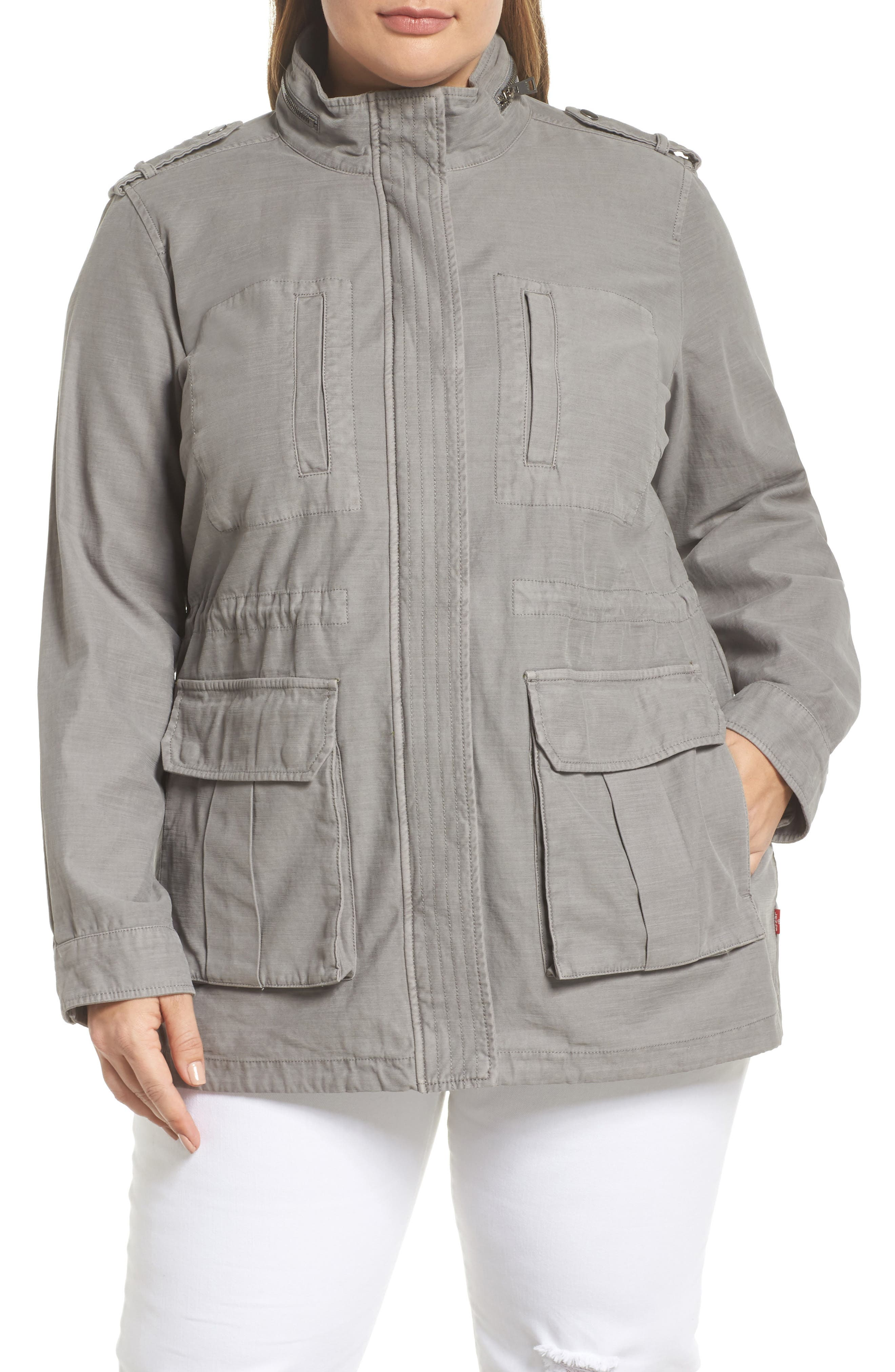 Cotton Fishtail Field Jacket,                             Alternate thumbnail 4, color,                             Grey