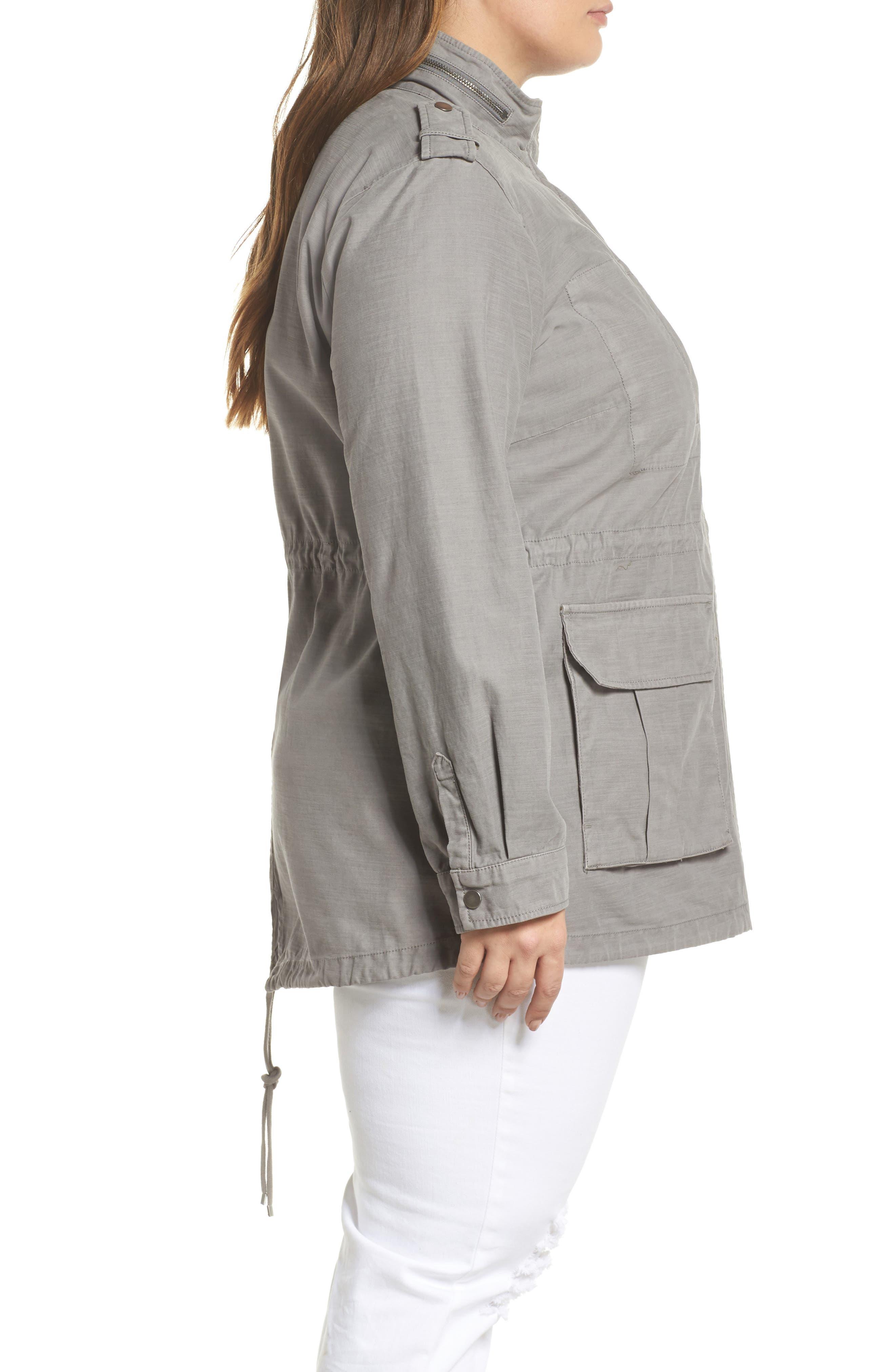 Cotton Fishtail Field Jacket,                             Alternate thumbnail 3, color,                             Grey