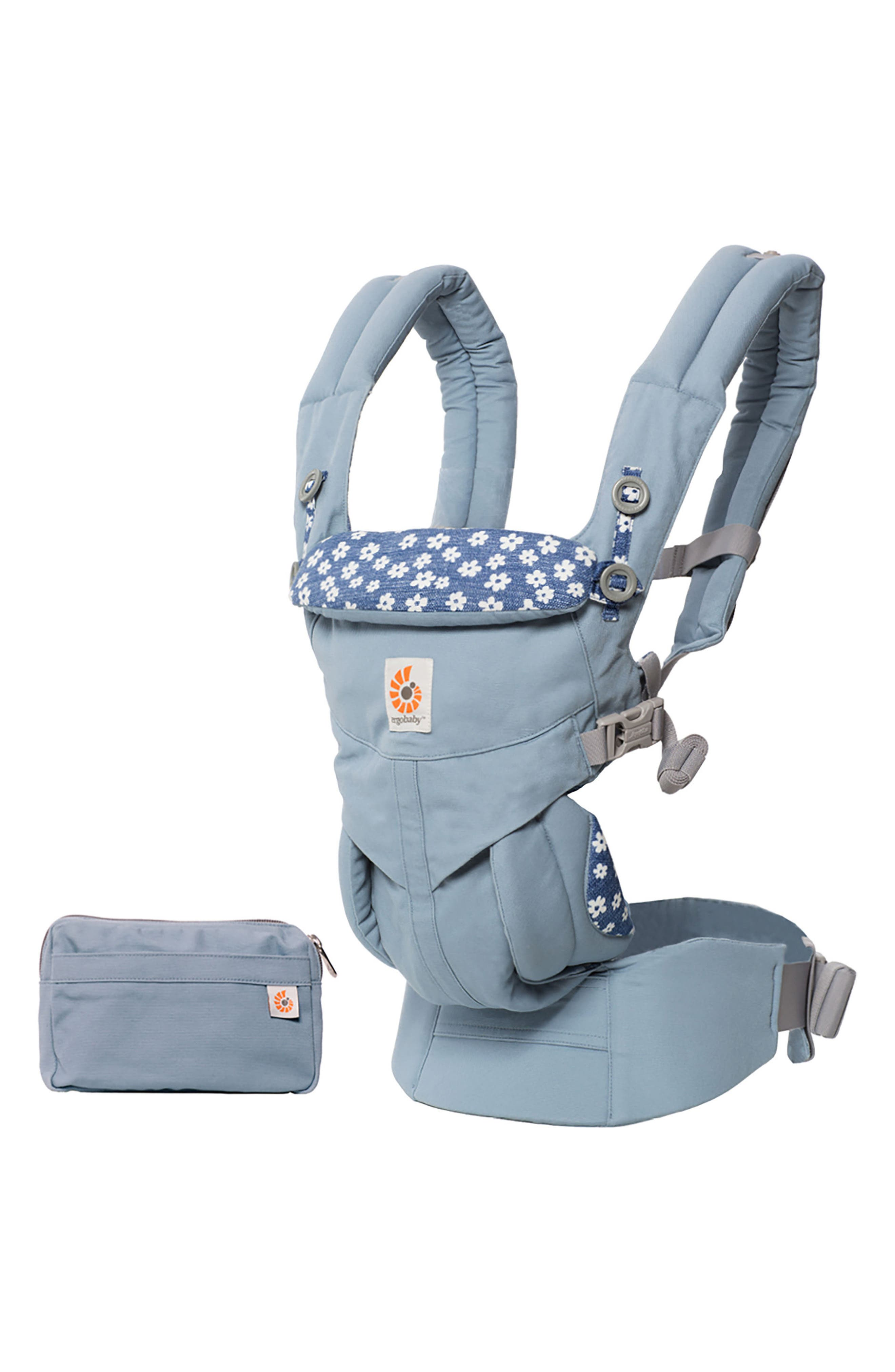 Omni 360 Daisy Print Baby Carrier,                             Main thumbnail 1, color,                             Blue Daisies