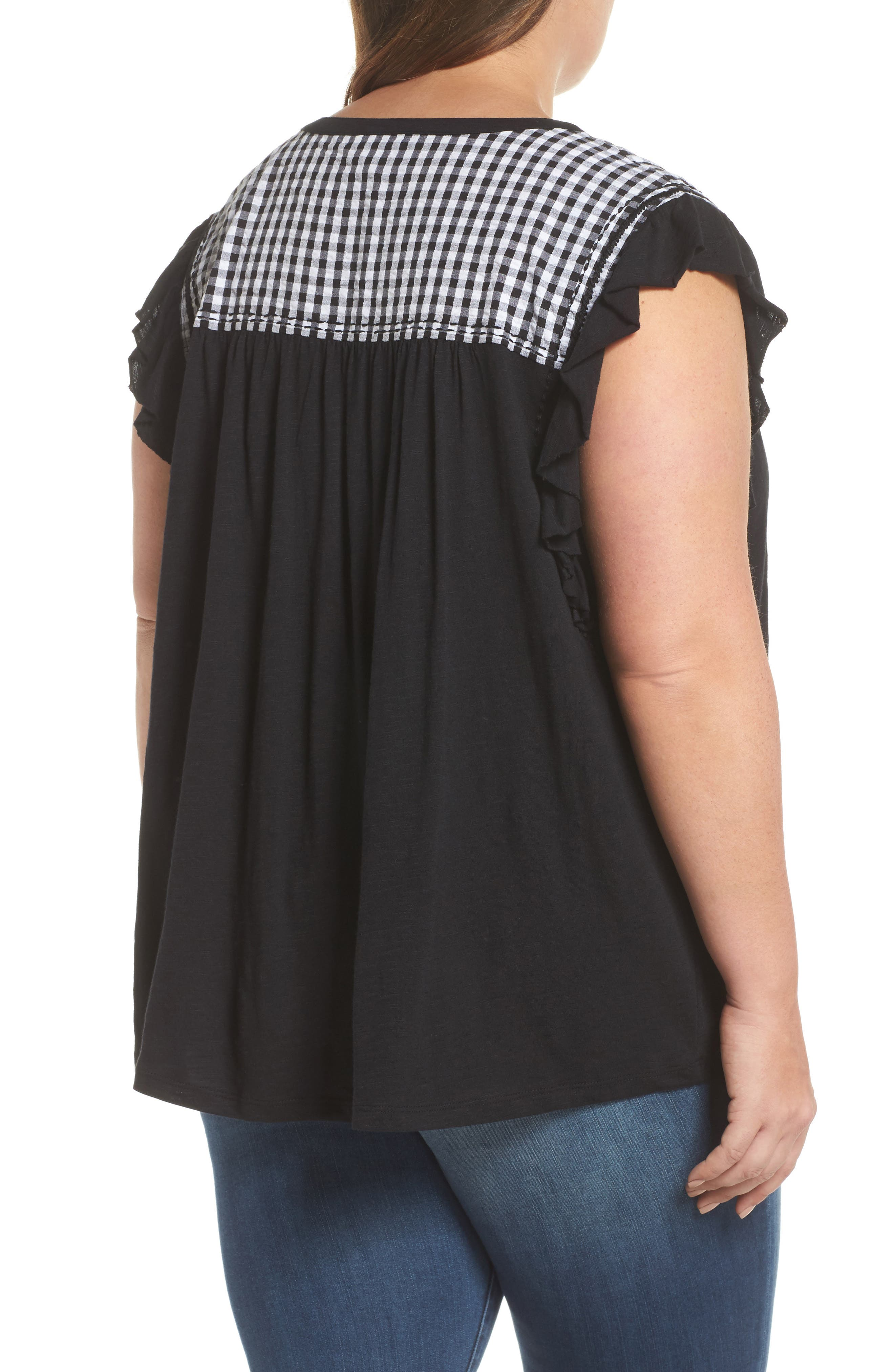 Mixed Media Top,                             Alternate thumbnail 2, color,                             Black- White Gingham