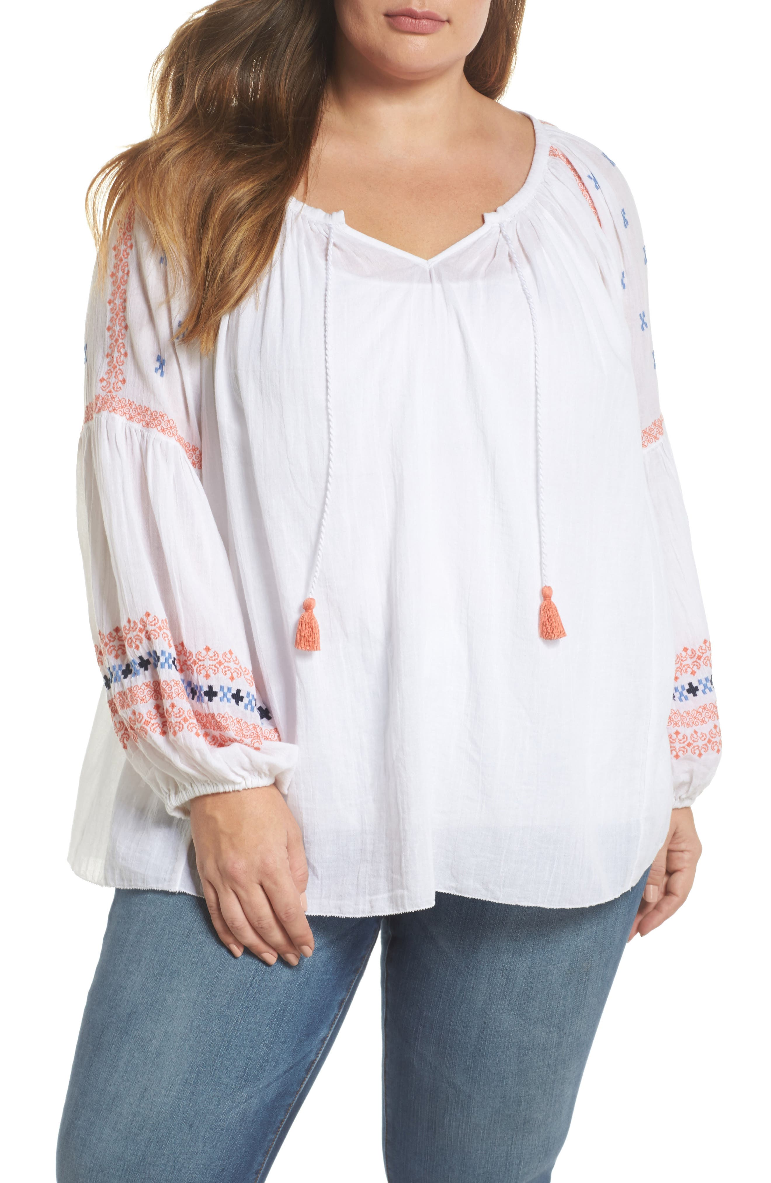 Embroidered Peasant Top,                         Main,                         color, White- Coral Pattern
