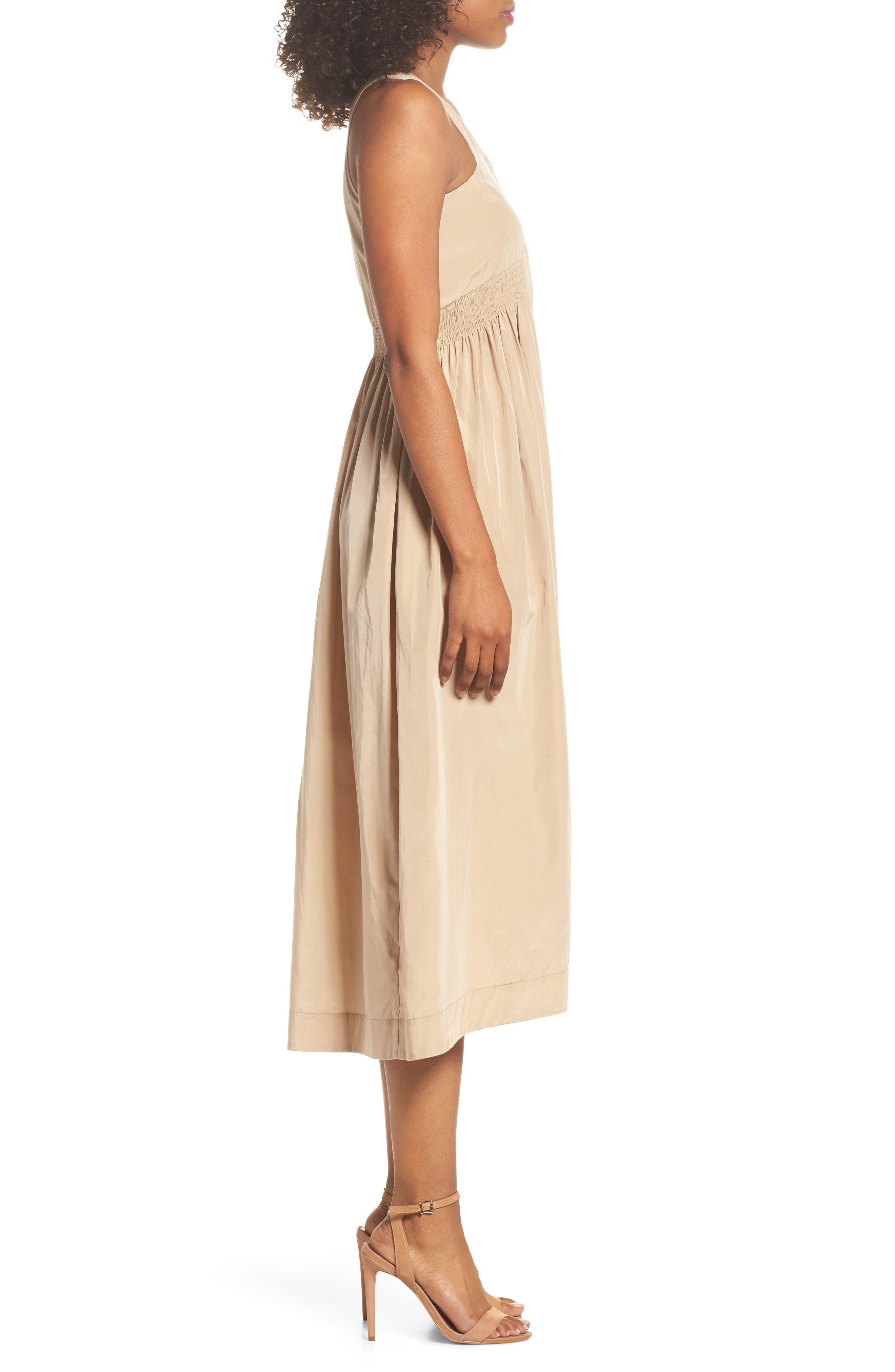 Aria Cotton & Silk Midi Dress,                             Alternate thumbnail 3, color,                             Beige