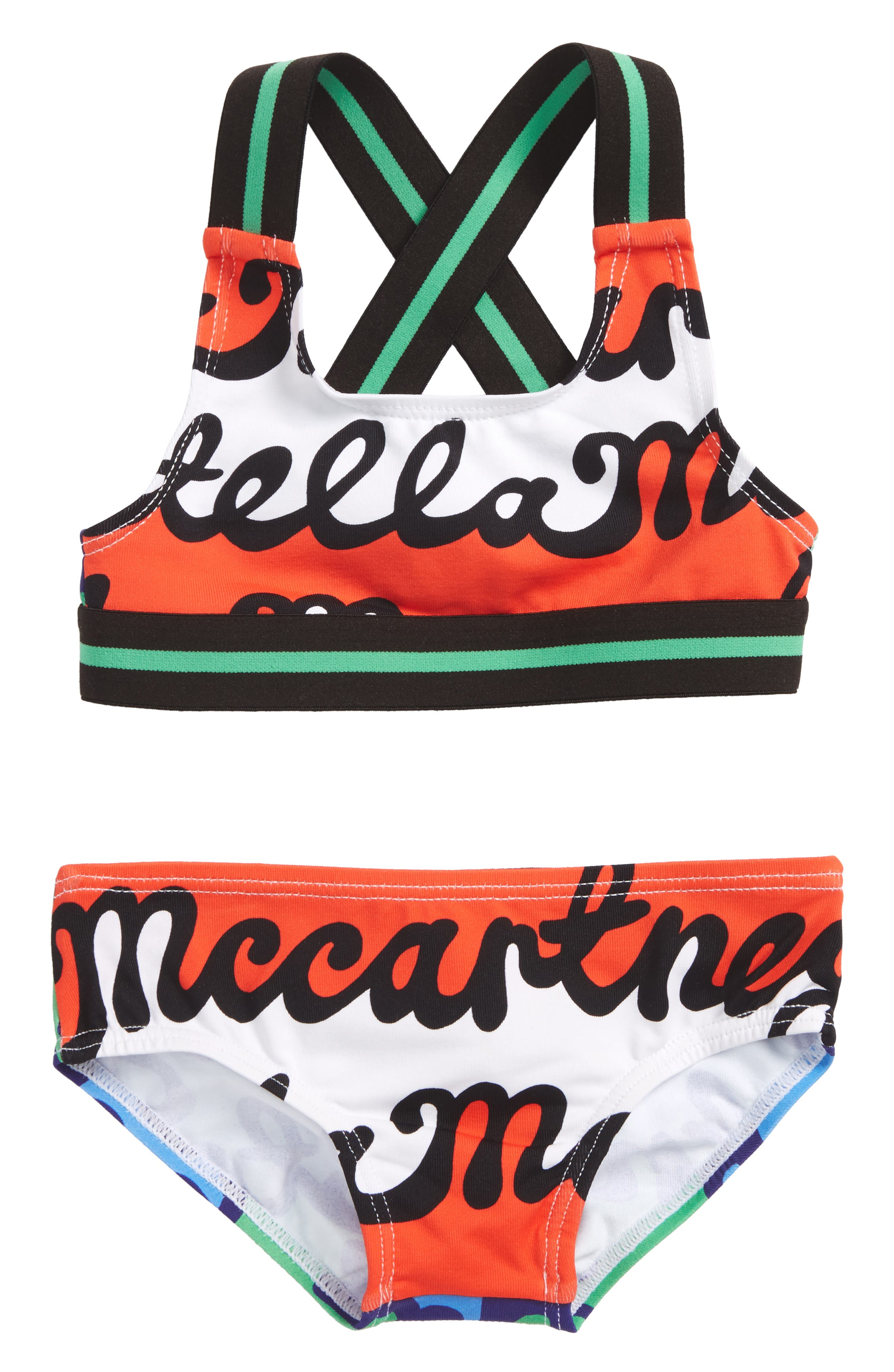 Gloria Two-Piece Swimsuit,                             Main thumbnail 1, color,                             Writing Repeat Print