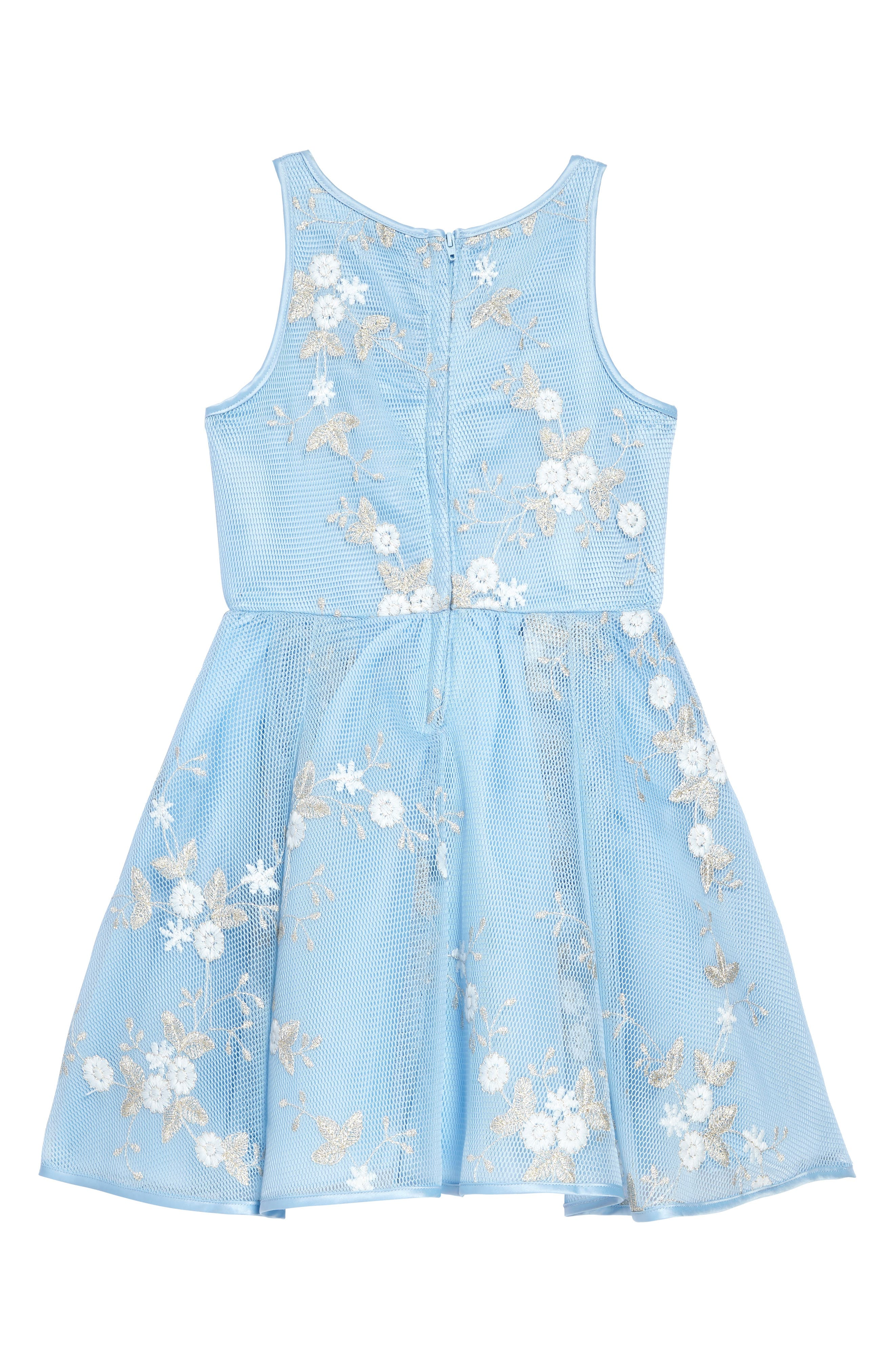 Embroidered Mesh Dress,                             Alternate thumbnail 2, color,                             Light Blue