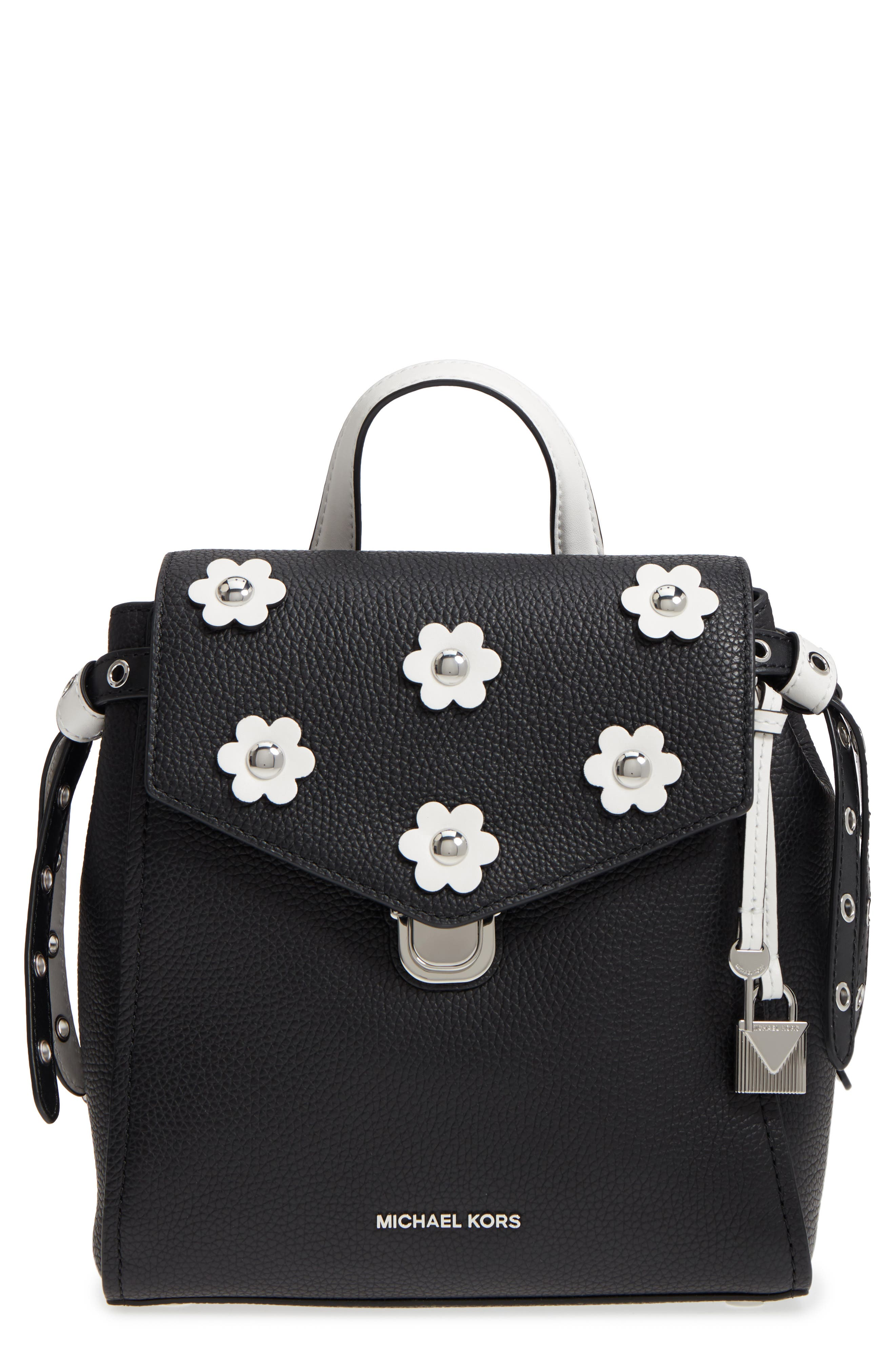MICHAEL Michael Kors Small Flower Embellished Leather Backpack,                             Main thumbnail 1, color,                             Black/ Optic White