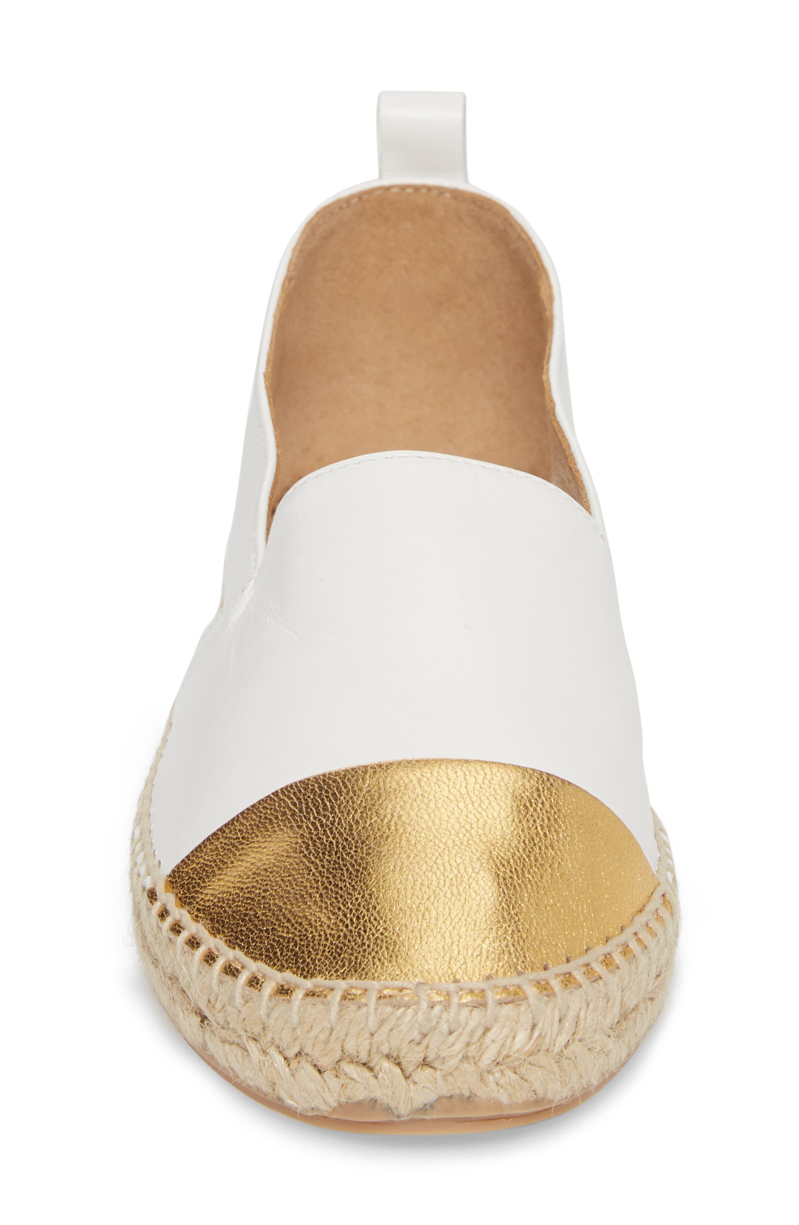 Lynn Cap Toe Espadrille,                             Alternate thumbnail 4, color,                             White/ Gold Leather
