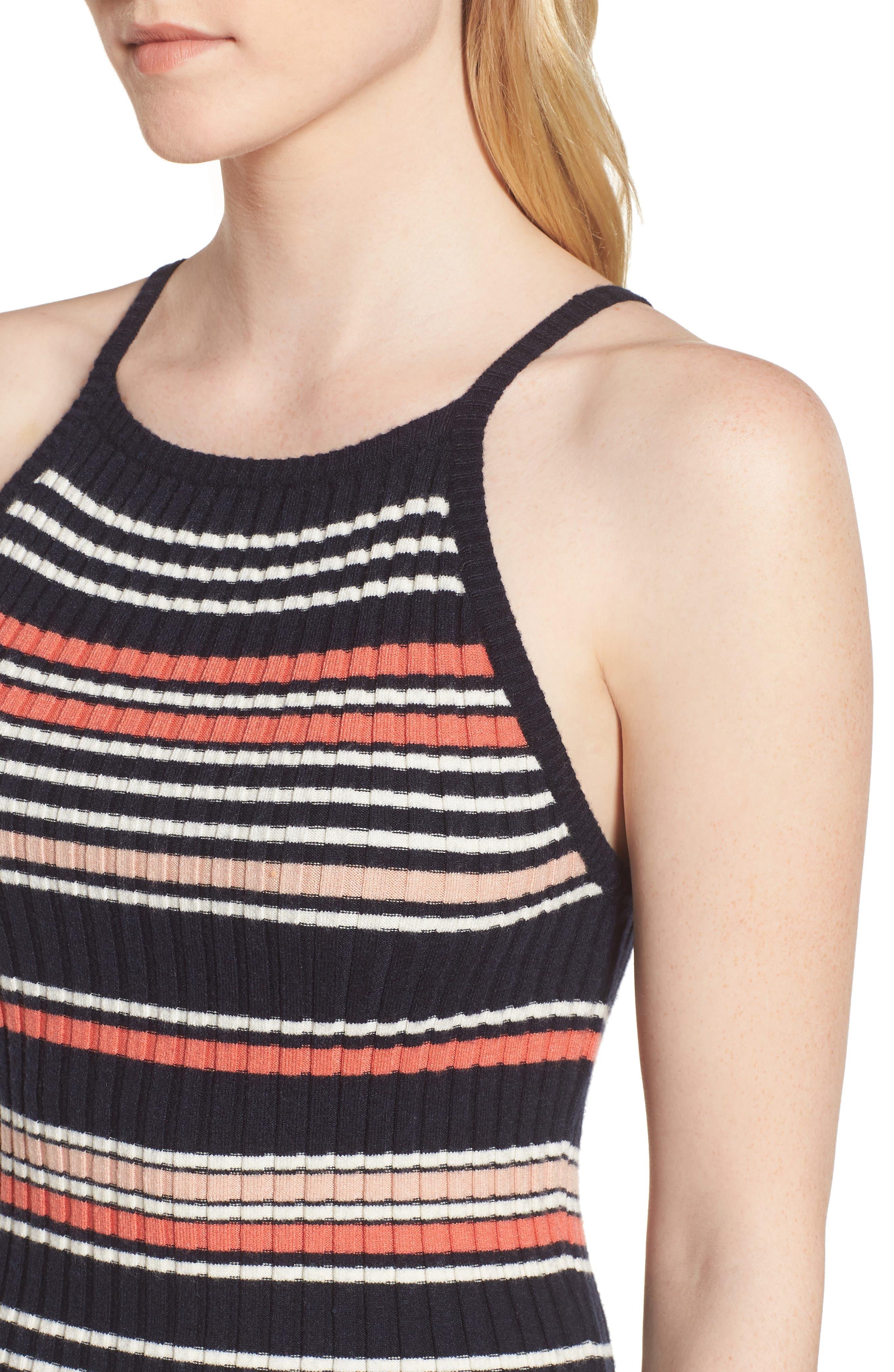 Dani Sweater Knit Midi Dress,                             Alternate thumbnail 4, color,                             Ink