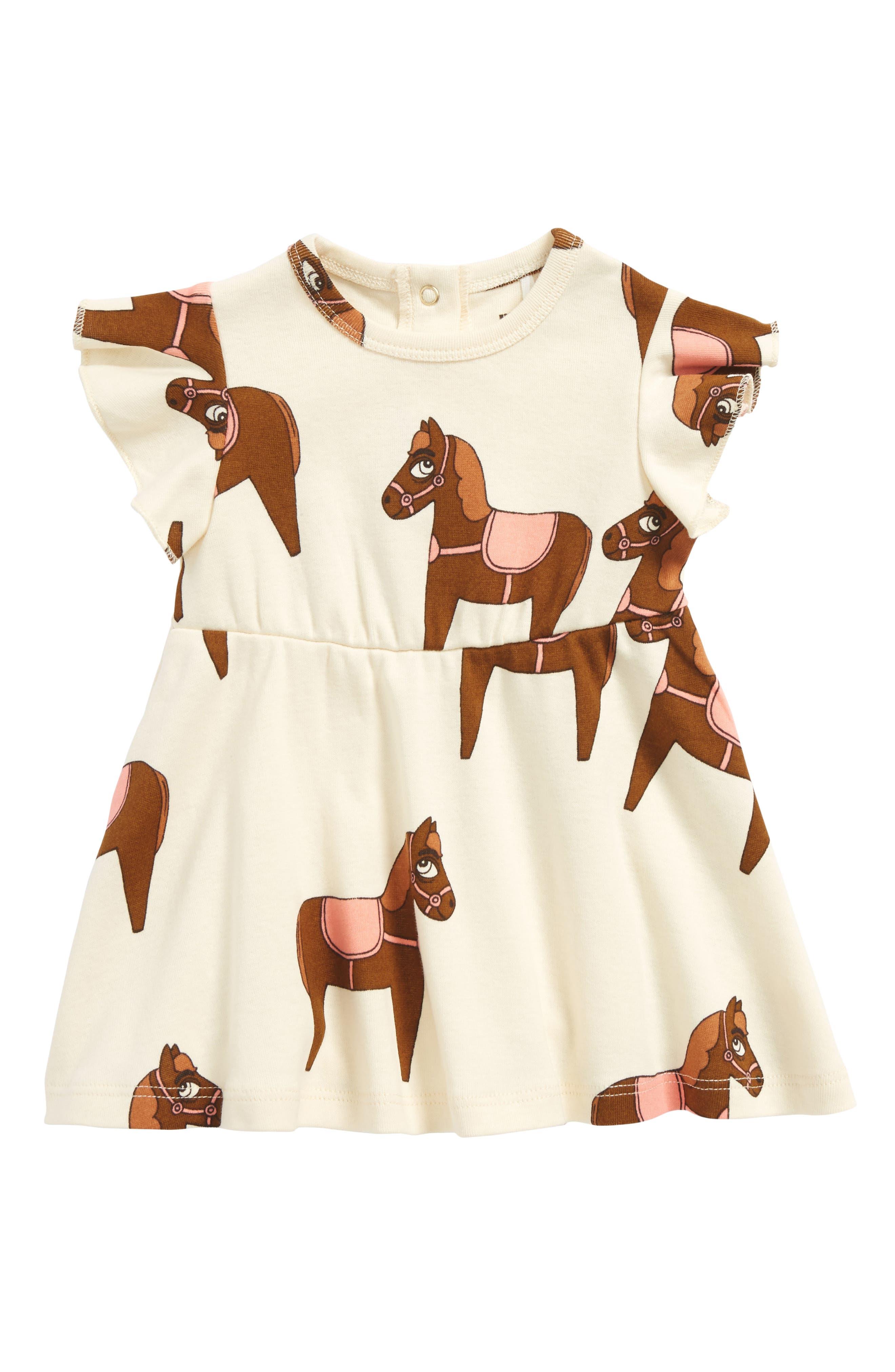 Mini Rodini Horse Organic Cotton Dress (Baby Girls)