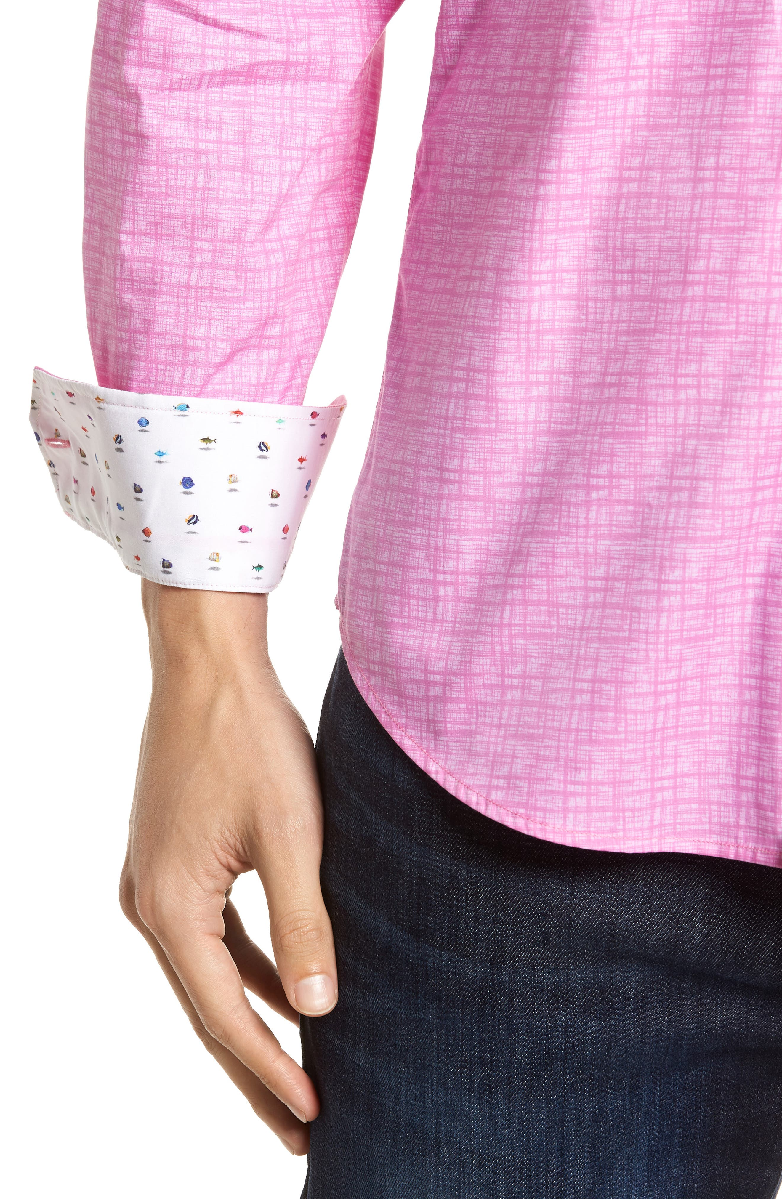 Freehand Shaped Fit Sport Shirt,                             Alternate thumbnail 2, color,                             Pink