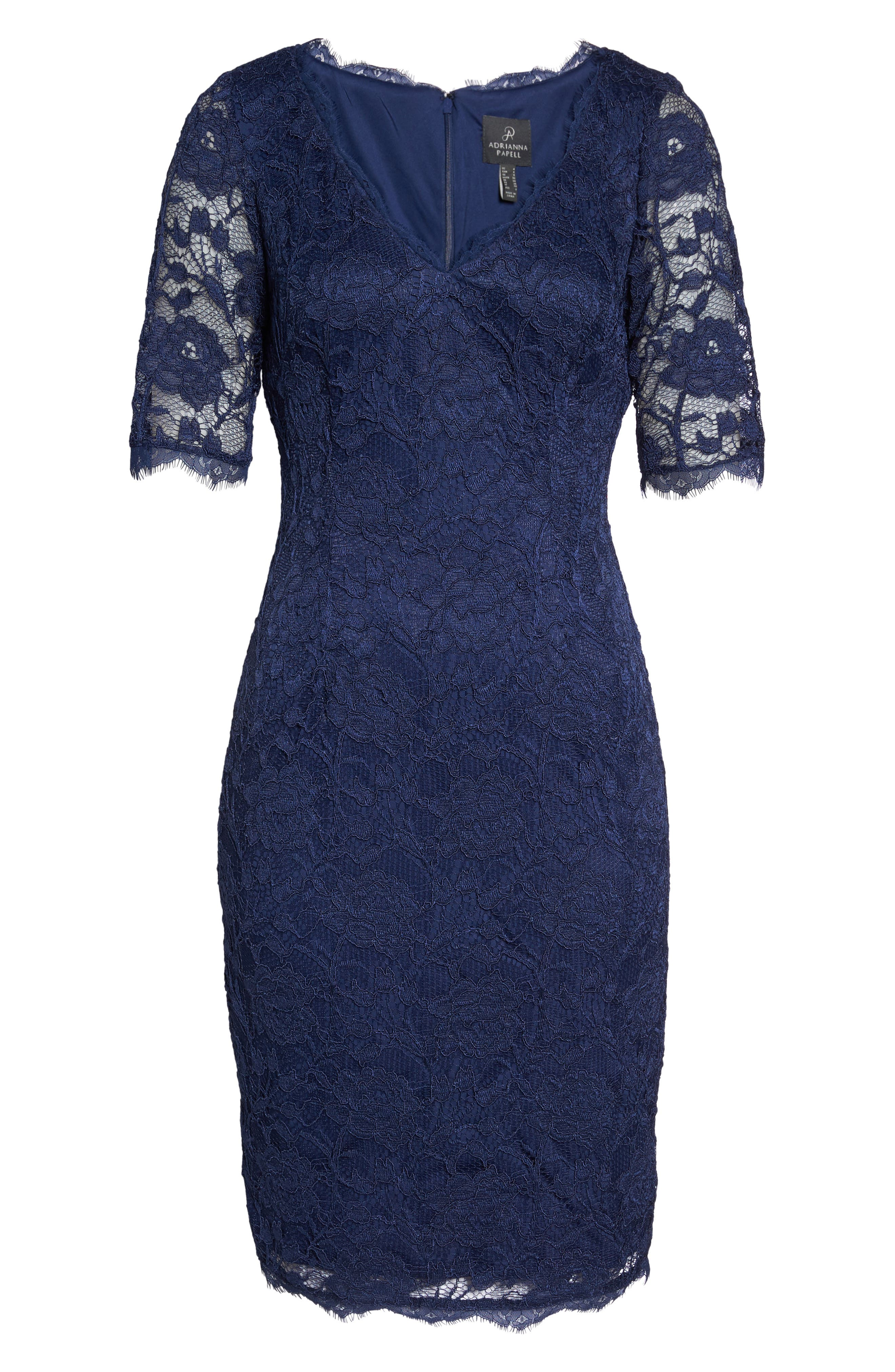 Alternate Image 6  - Adrianna Papell Rose Lace Sheath Dress