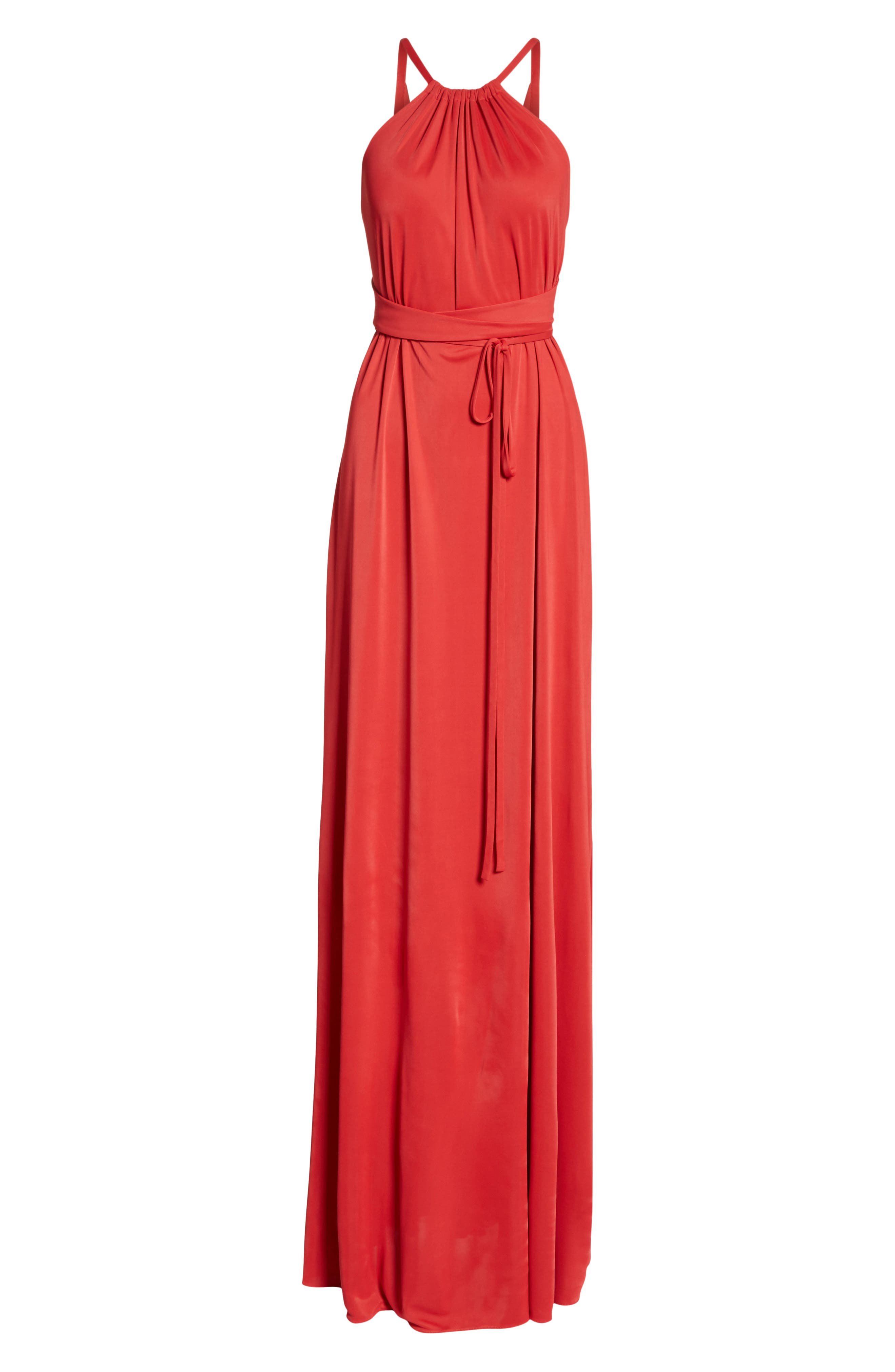 Back Cutout Jersey Gown,                             Alternate thumbnail 7, color,                             Red