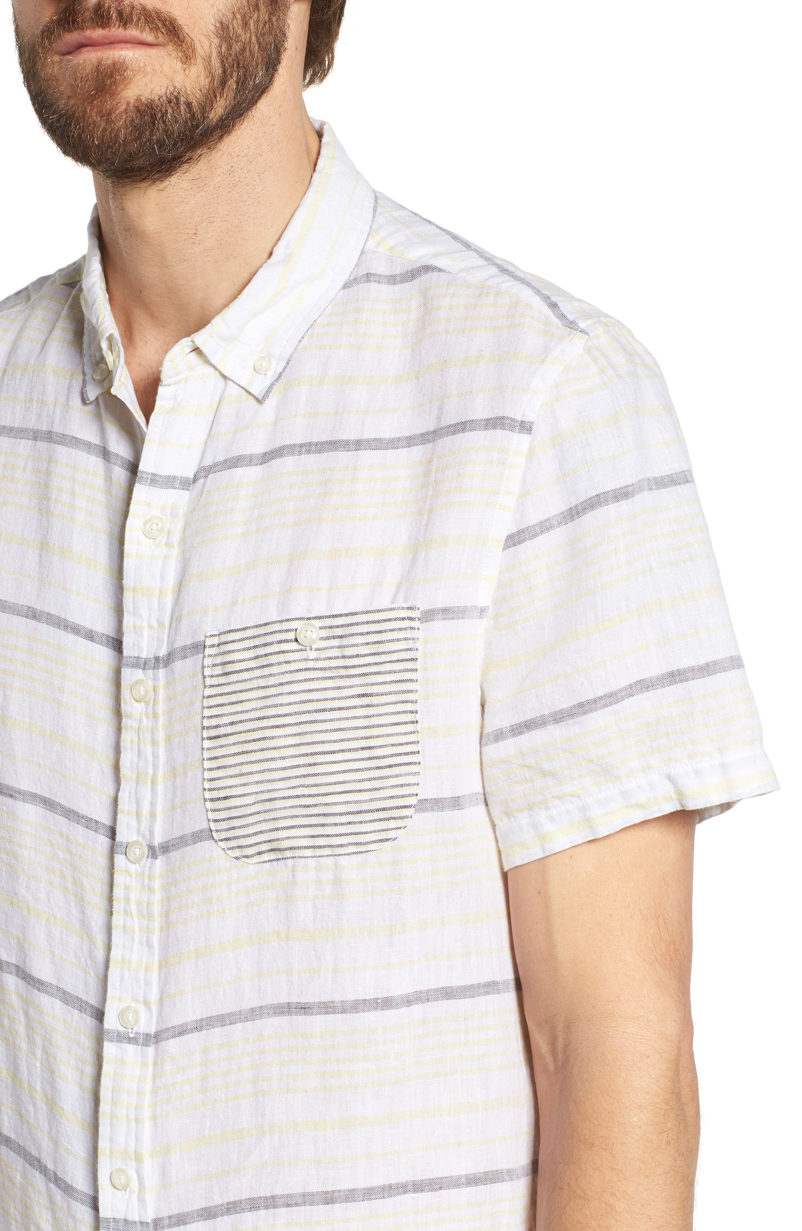 Stripe Linen Sport Shirt,                             Alternate thumbnail 4, color,                             Pale Lemon