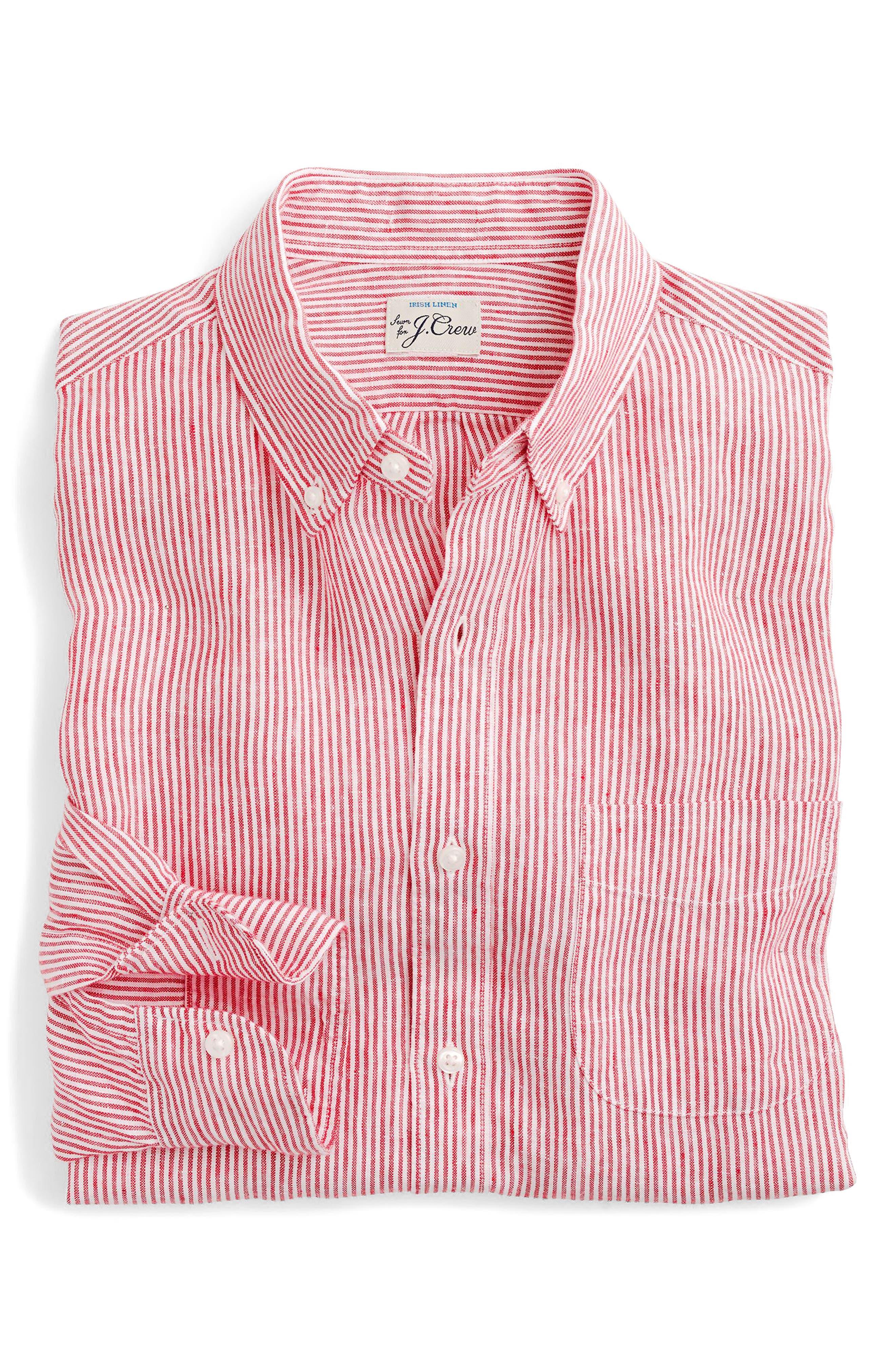 Slim Fit Stripe Irish Linen Shirt,                             Alternate thumbnail 3, color,                             Engine Red