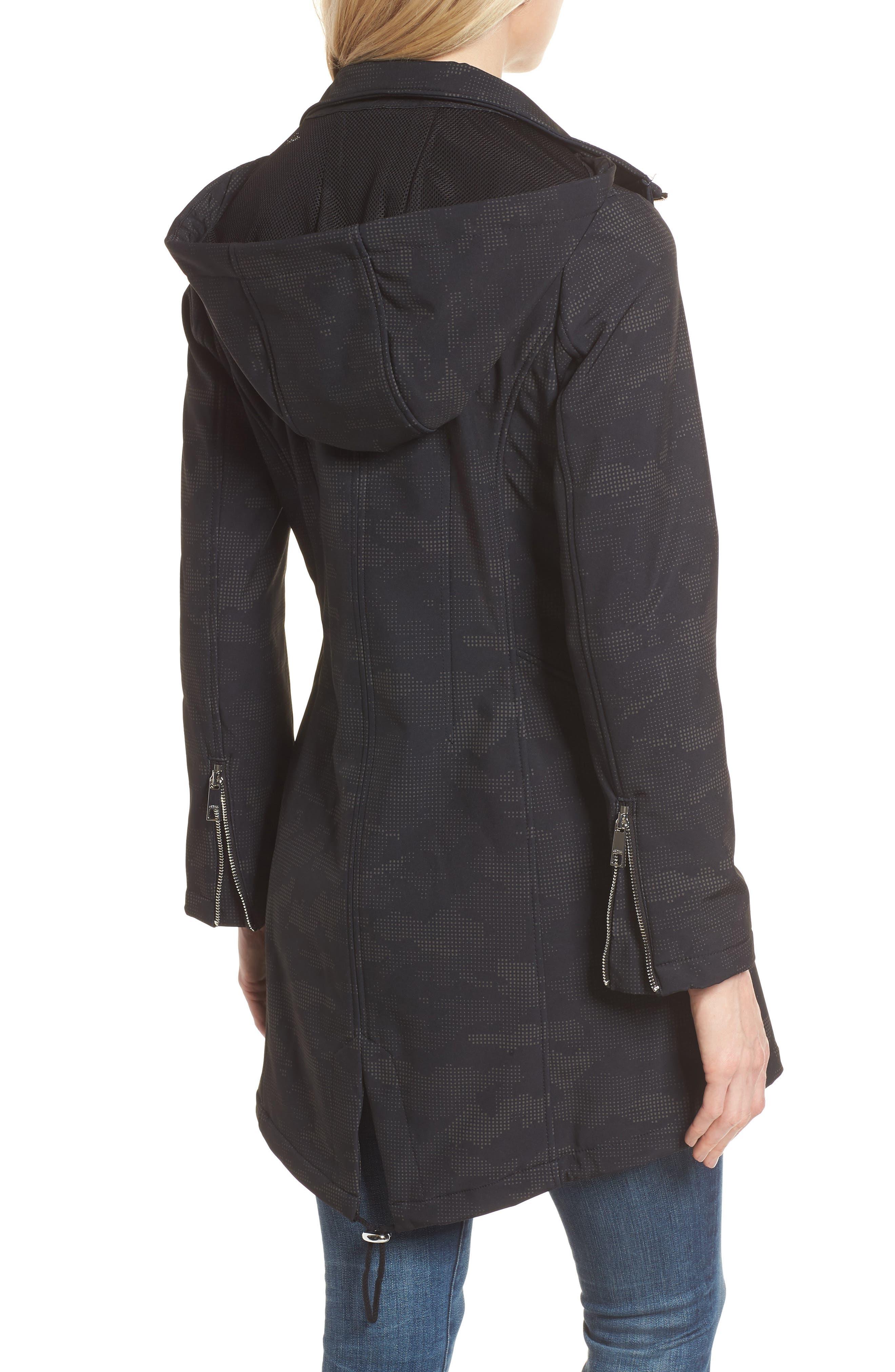 Lace-Up Hooded Jacket,                             Alternate thumbnail 2, color,                             Black Print