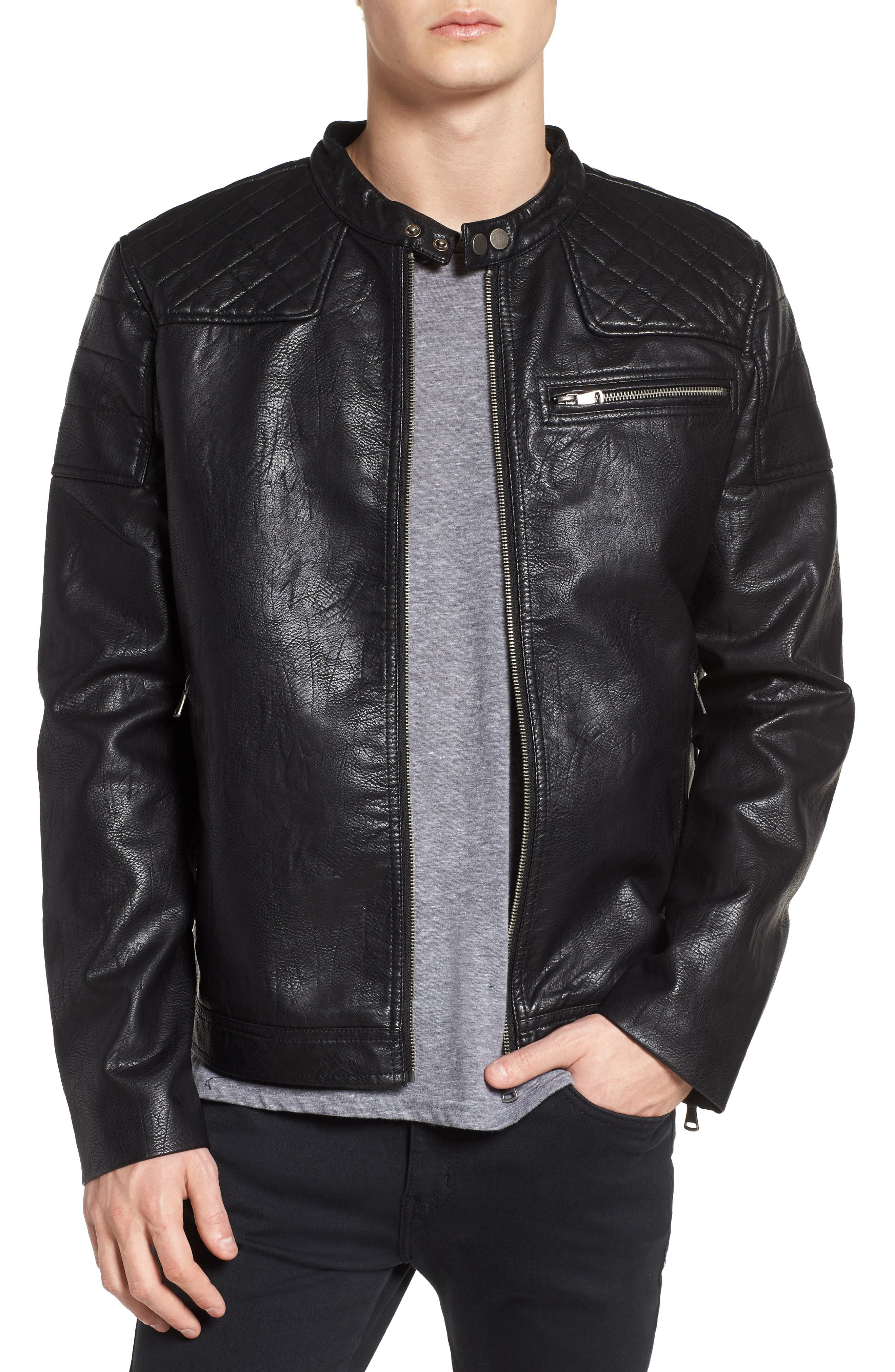 Washed Faux Leather Racer Jacket,                             Main thumbnail 1, color,                             Black